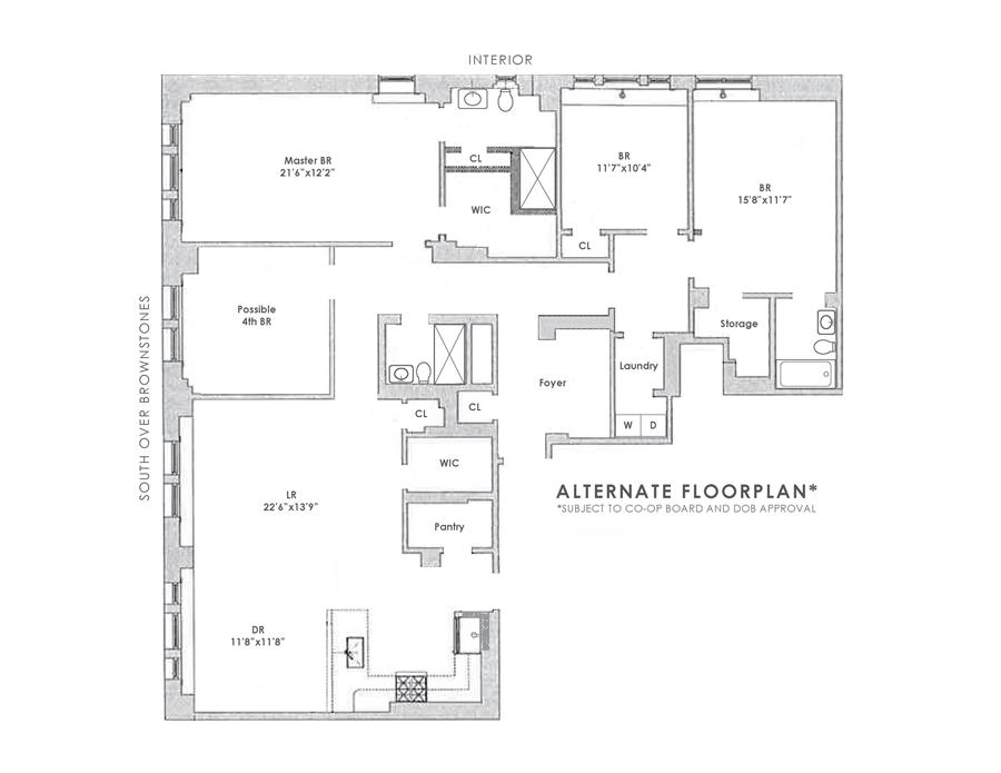 Floor plan of The Bancroft, 40 West 72nd St, 66/67 - Upper West Side, New York