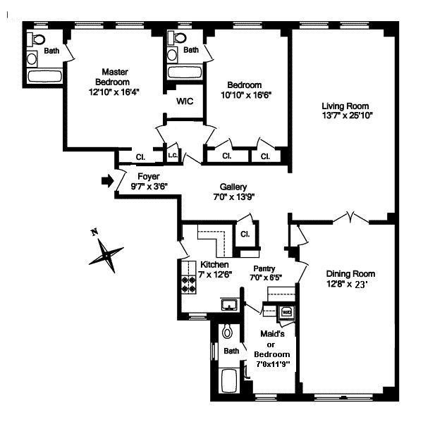 Floor plan of 800 West End Avenue, 11B
