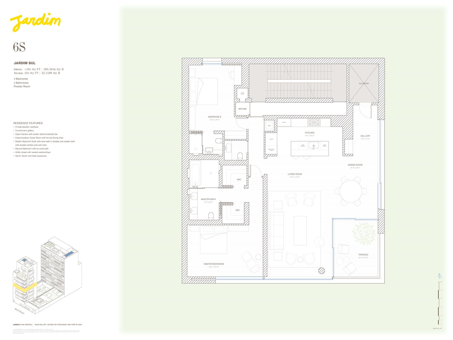 Floor plan of Jardim, 527 West 27th St, 6S - Chelsea, New York
