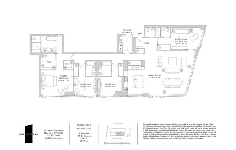 Floor plan of One West End, 1 West End Avenue, 35B - Upper West Side, New York