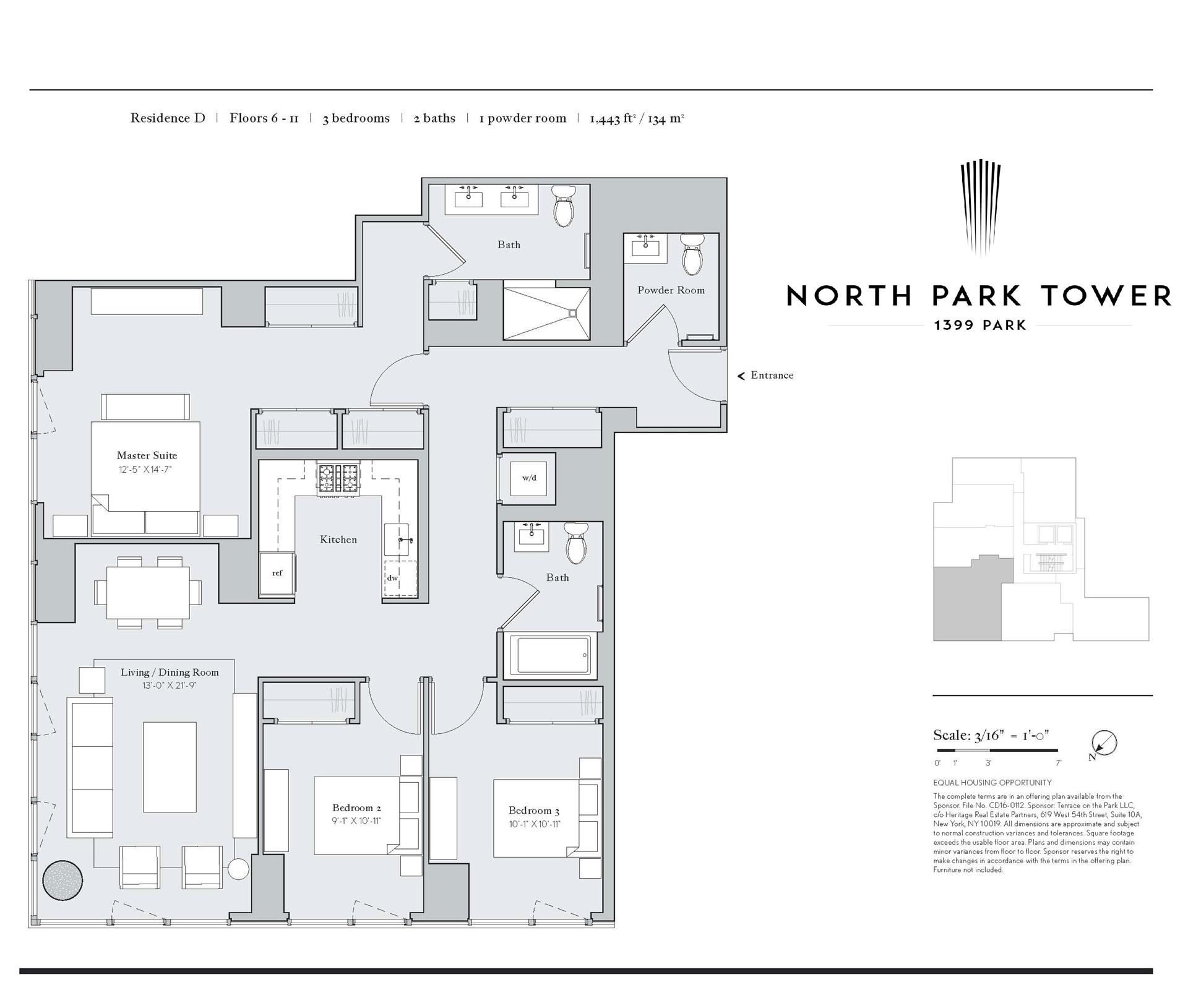 Floor plan of North Park Tower, 1399 Park Avenue, 7D - East Harlem, New York