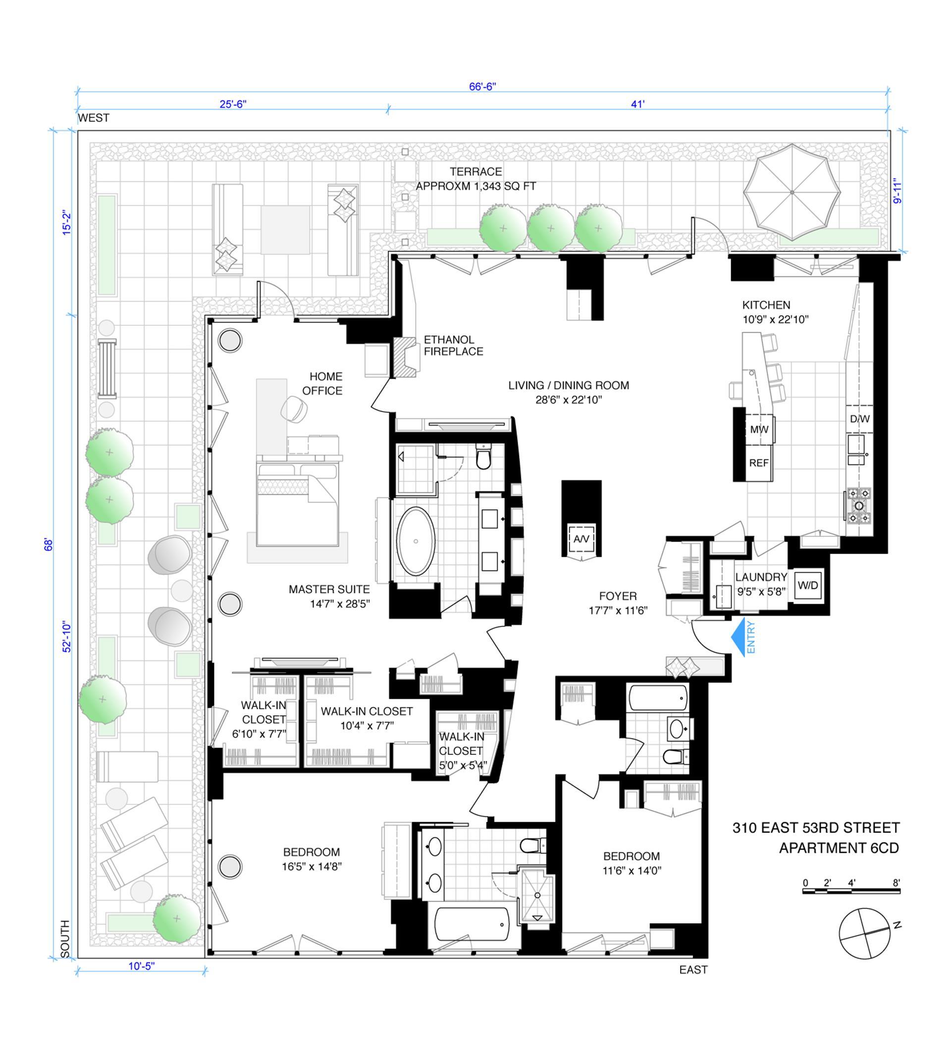 Floor plan of The Three Ten, 310 East 53rd St, 6CD - Sutton Area, New York