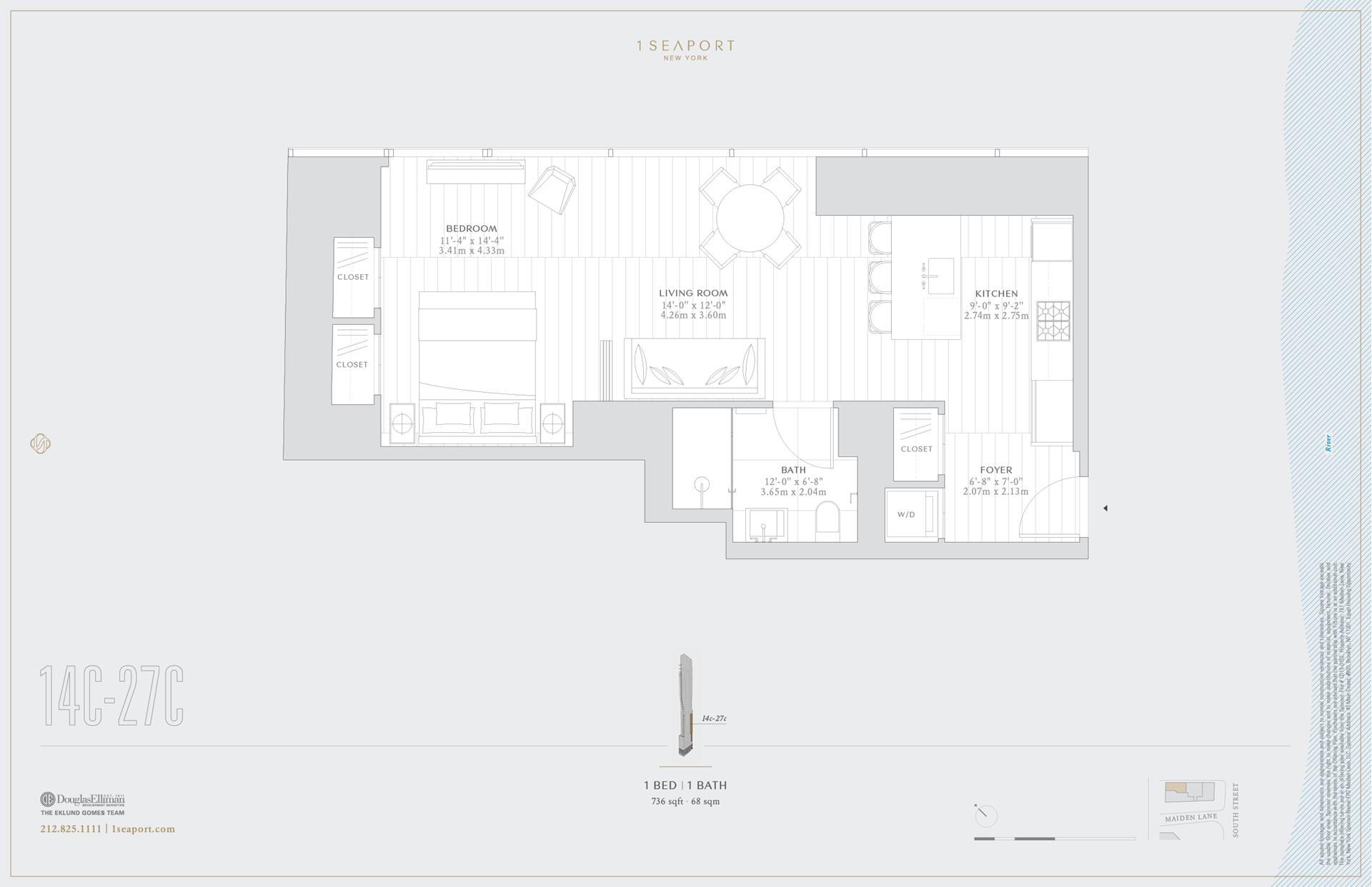 Floor plan of 1 Seaport, 161 Maiden Ln, 18C - Financial District, New York