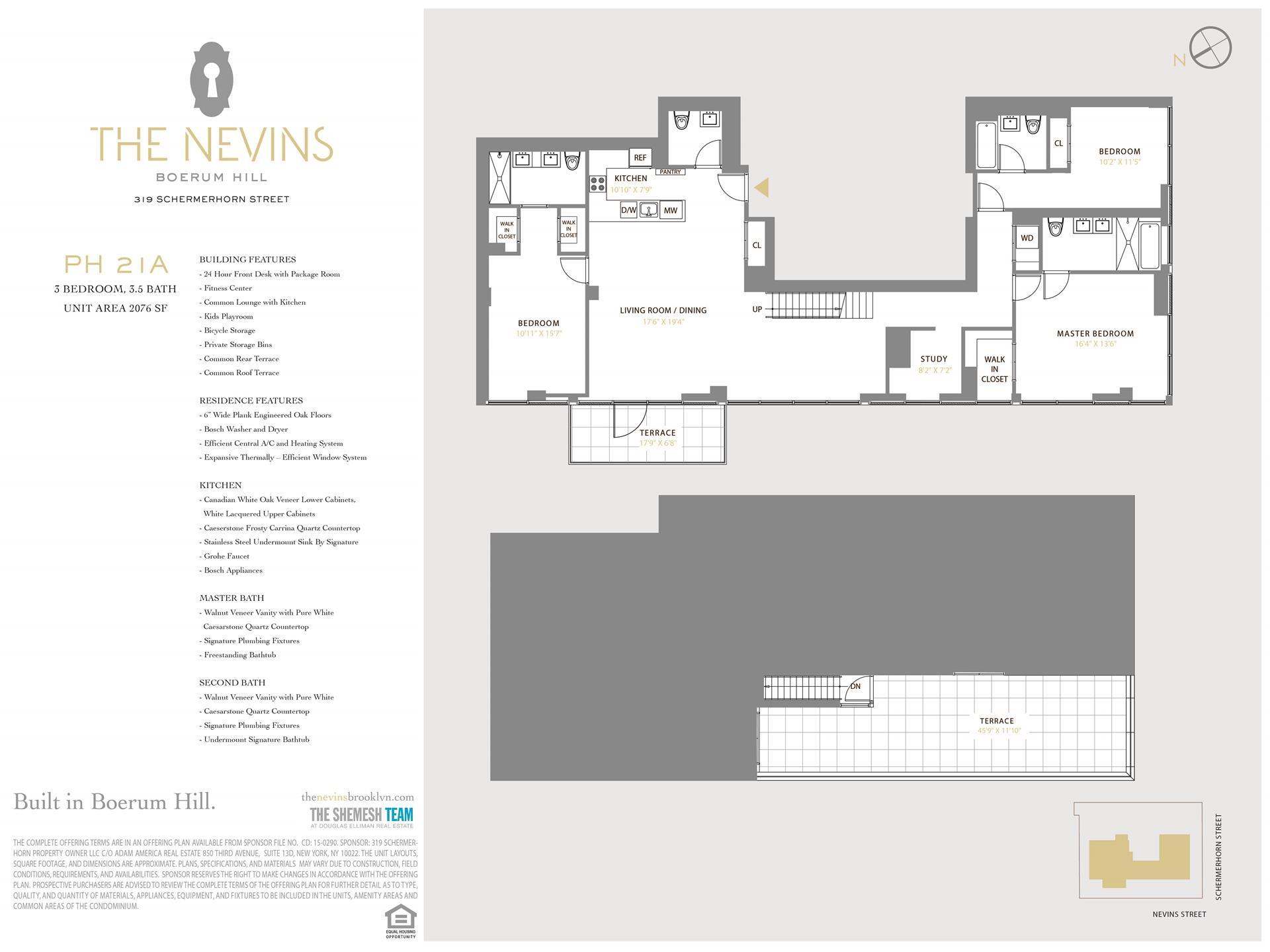 Floor plan of The Nevins, 319 Schermerhorn Street, PH21A - Boerum Hill, New York