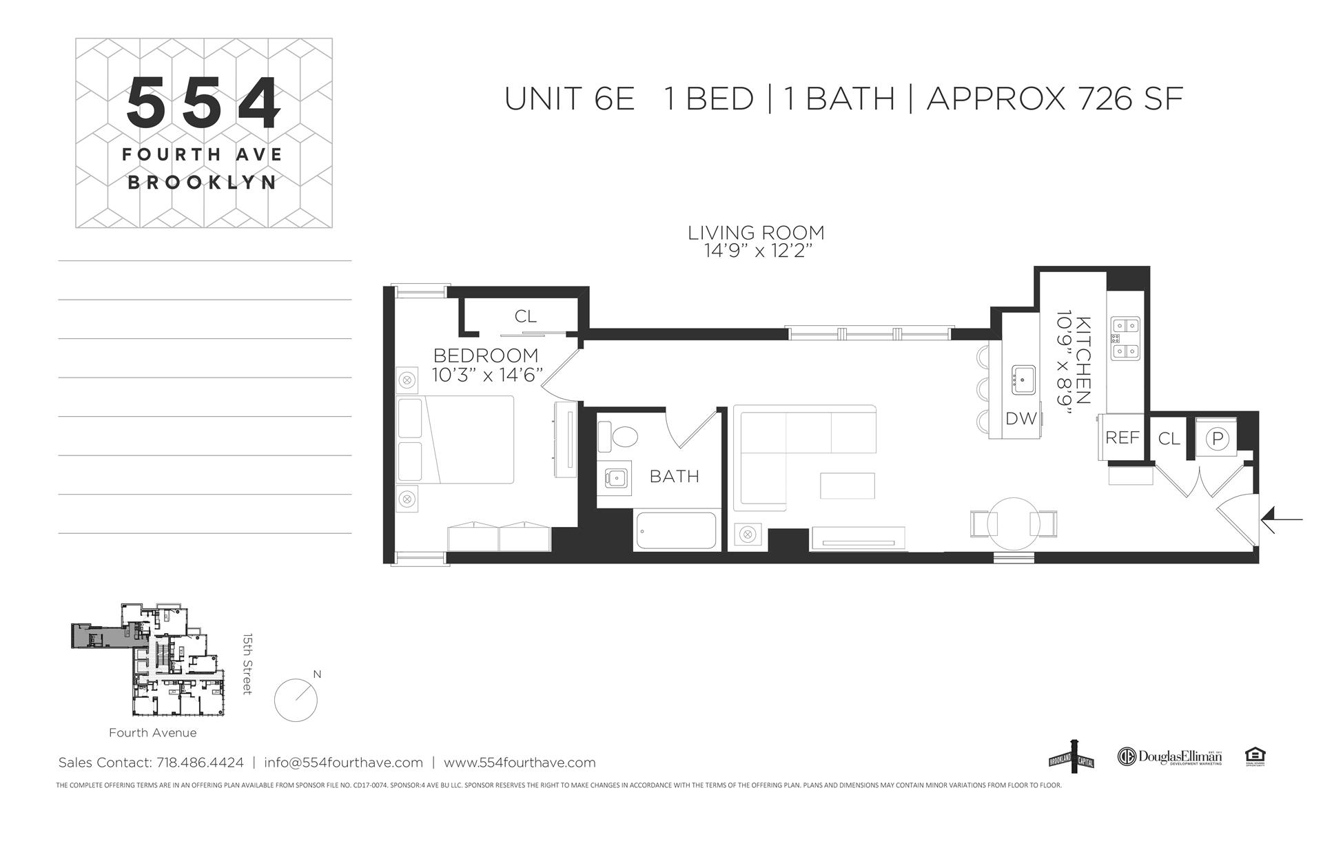 Floor plan of 554 Fourth Avenue, 6E - Gowanus, New York