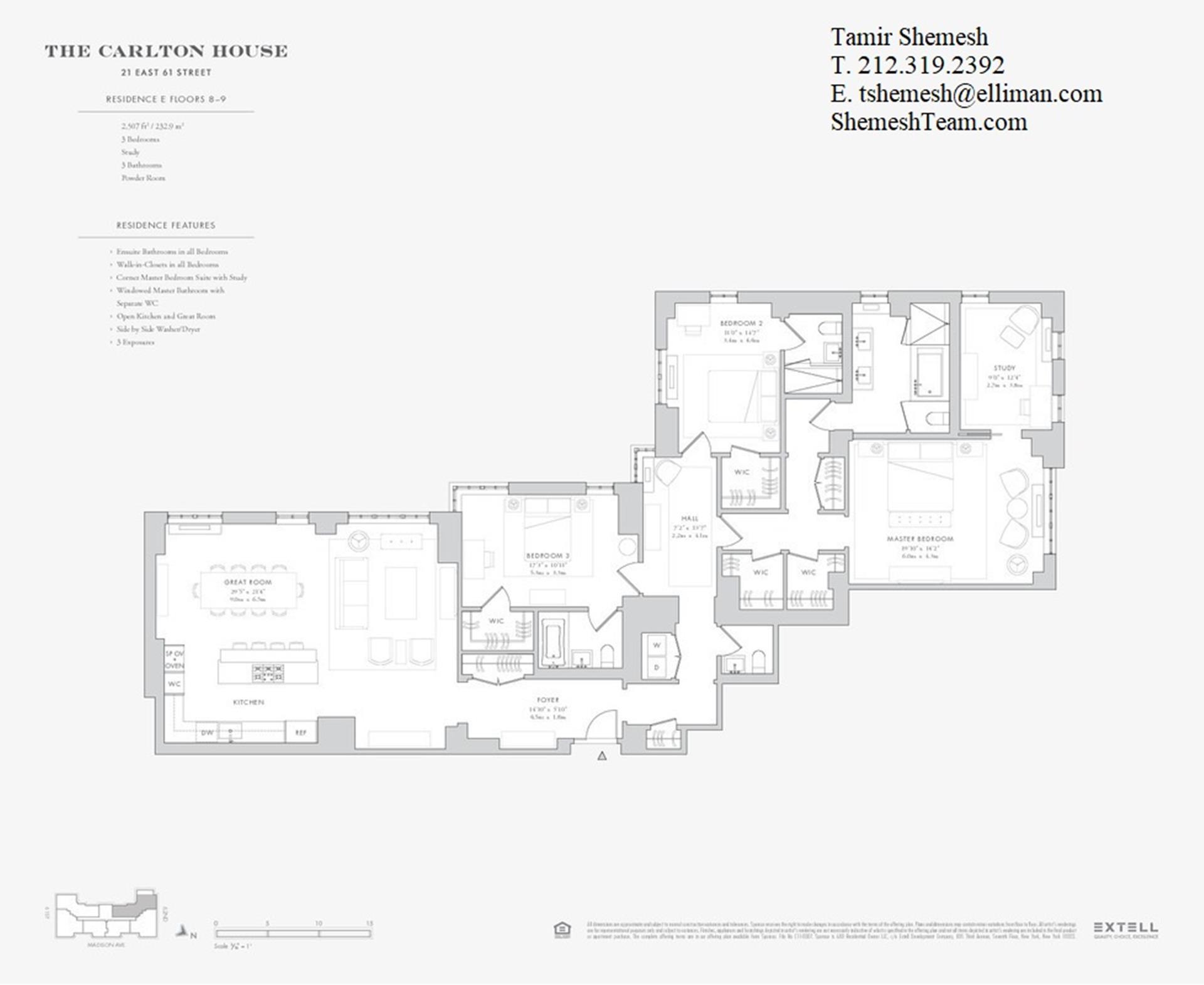 Floor plan of The Carlton House, 21 East 61st St, 8E - Upper East Side, New York