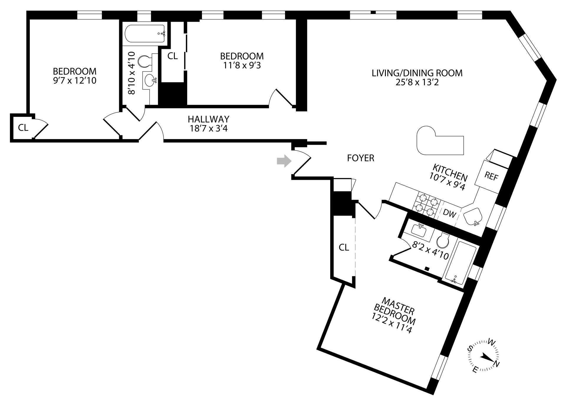 Floor plan of 15 Butler Pl, 2C - Prospect Heights, New York