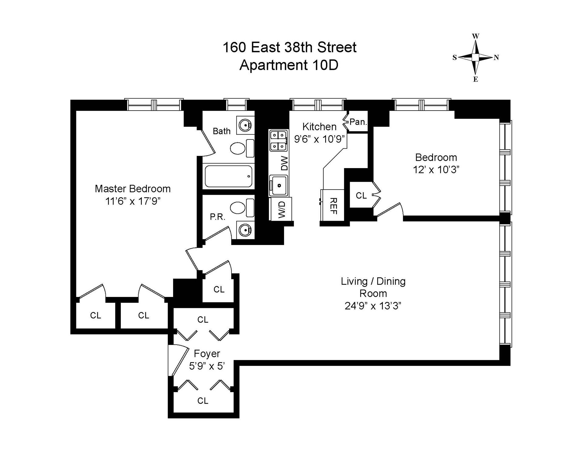 Floor plan of 160 East 38th St, 10D - Murray Hill, New York
