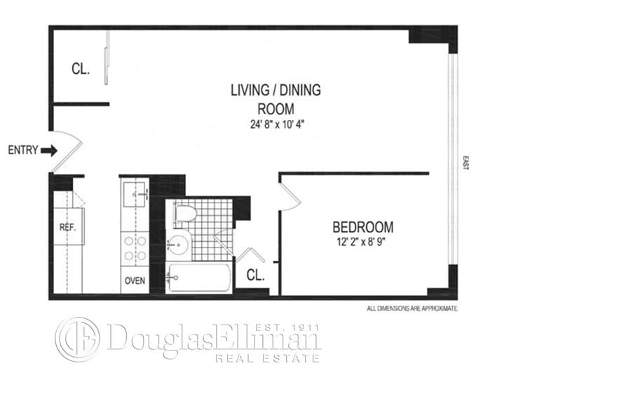 Floor plan of Riverview East, 251 East 32nd St, 9D - Kips Bay, New York