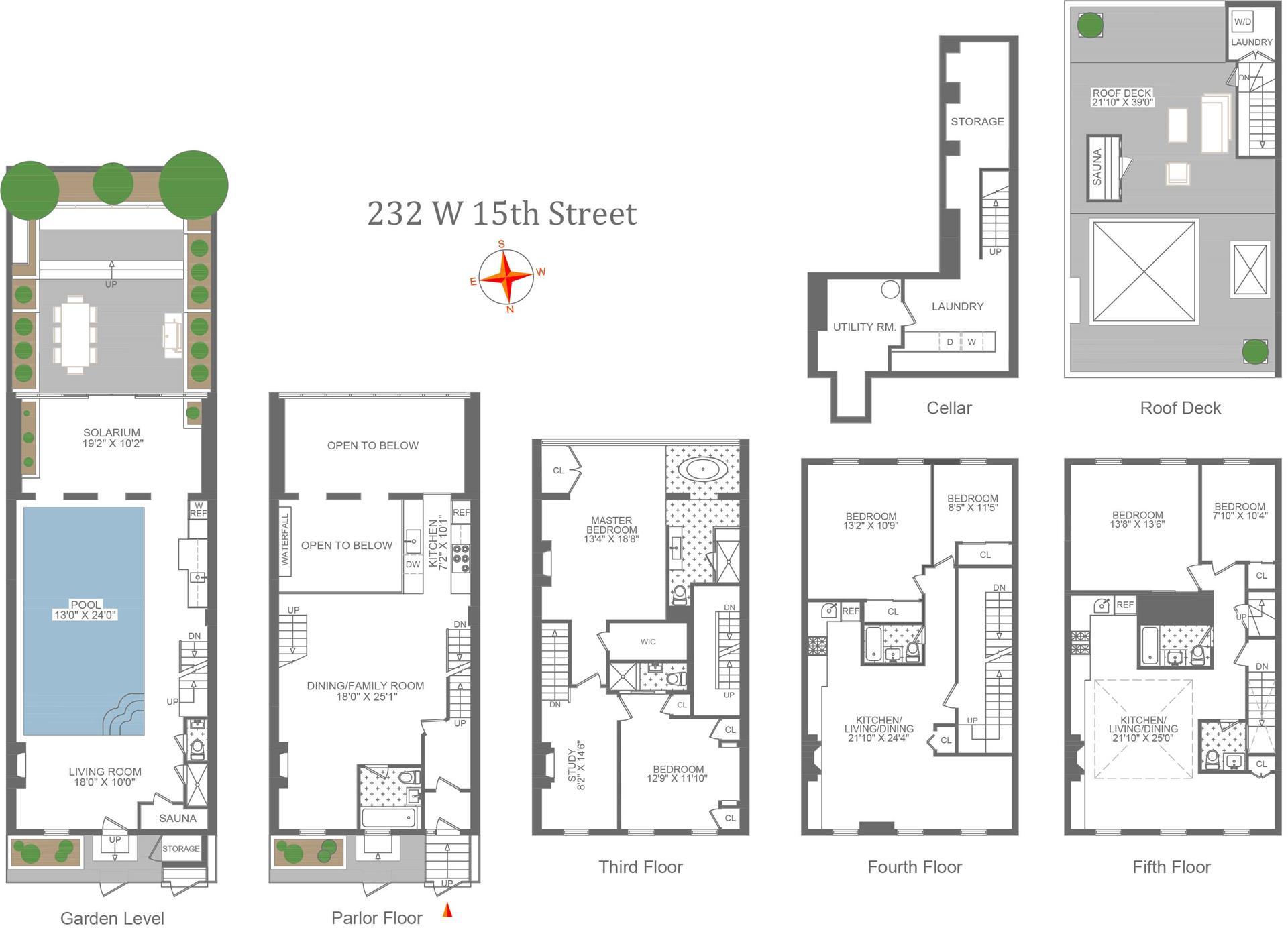 Floor plan of 232 West 15th St - Chelsea, New York