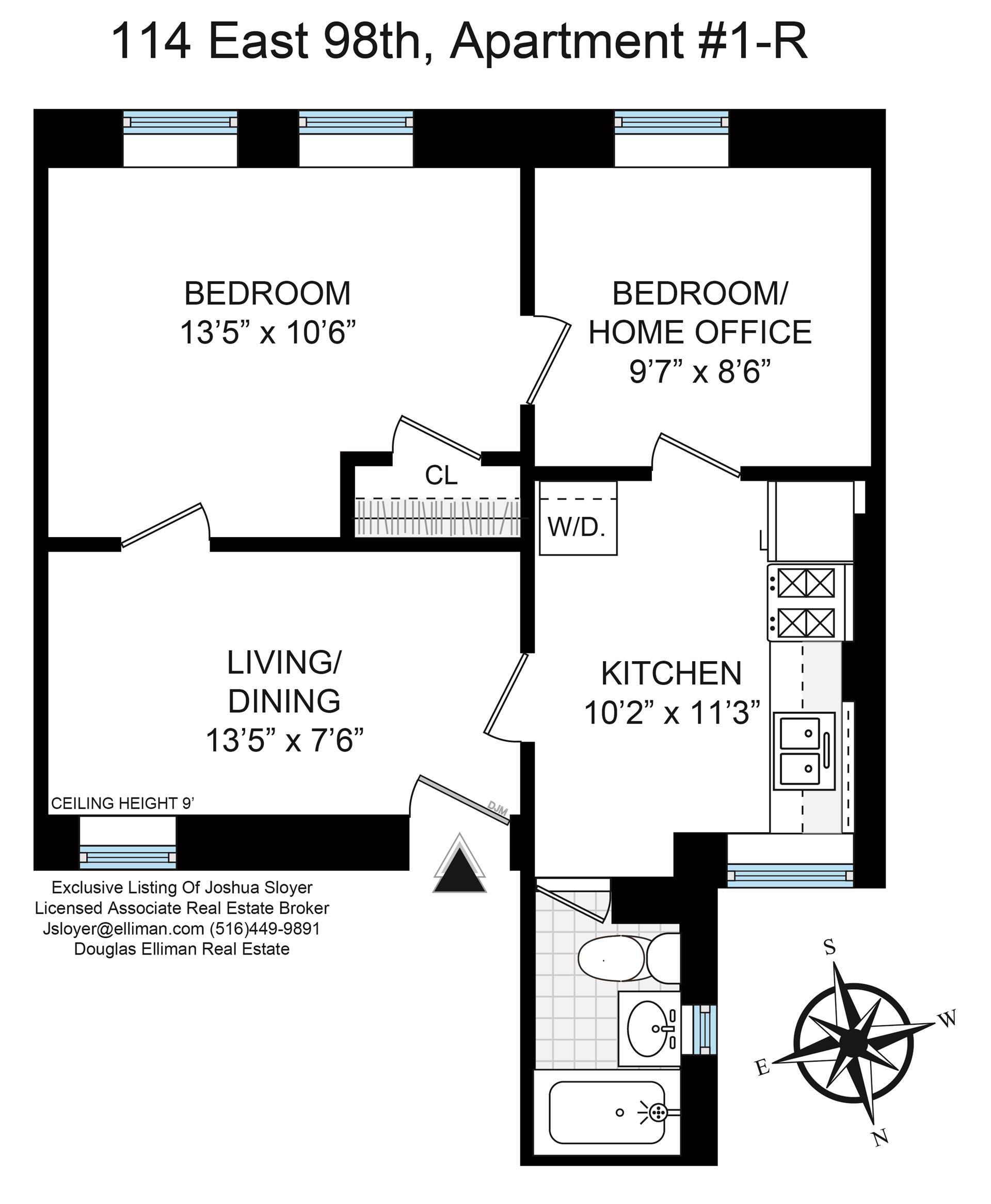 Floor plan of 114 East 98th St, 1R - Upper East Side, New York