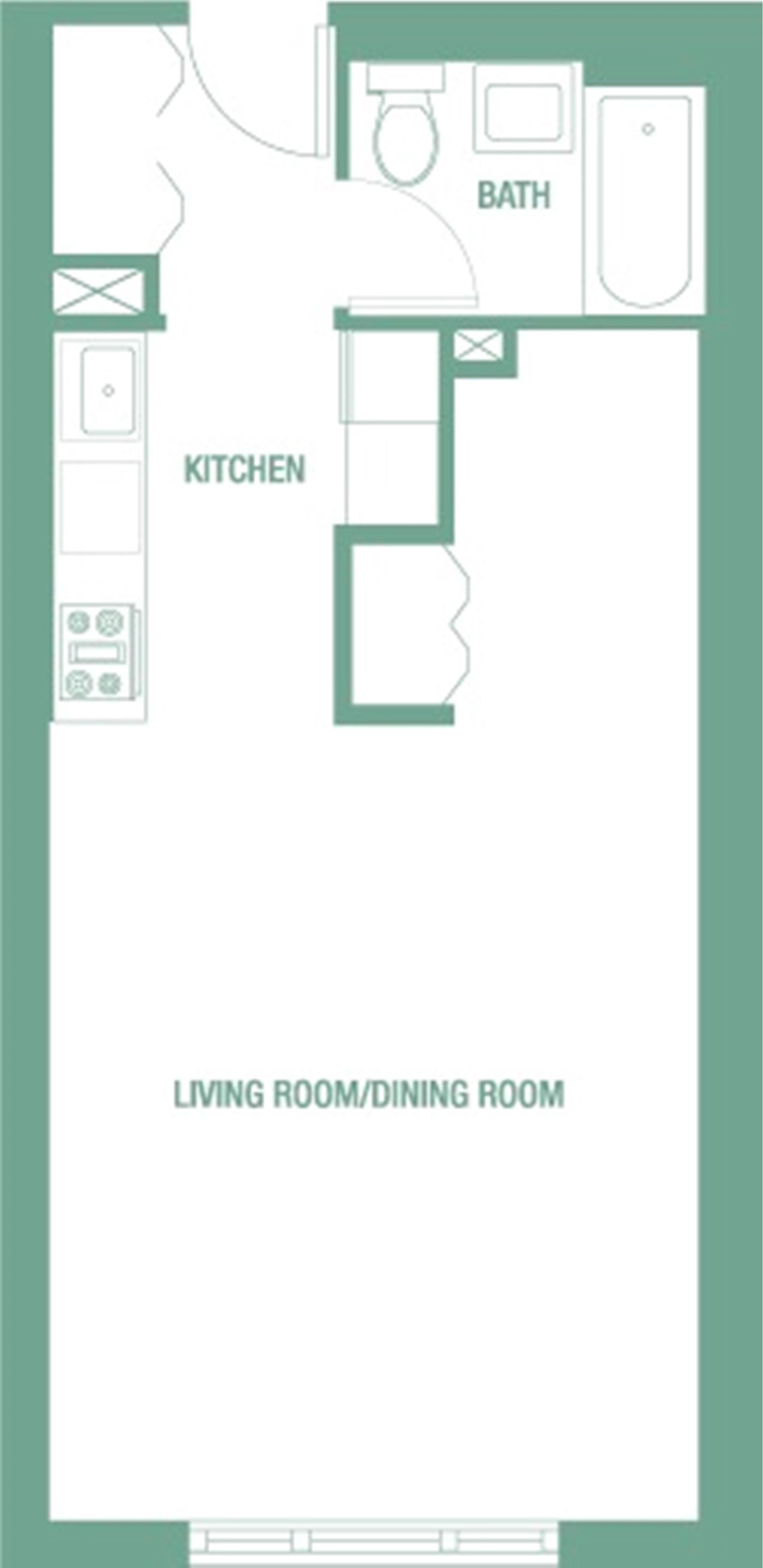 Floor plan of HUDSON PARK, 323 West 96th St, 513 - Upper West Side, New York
