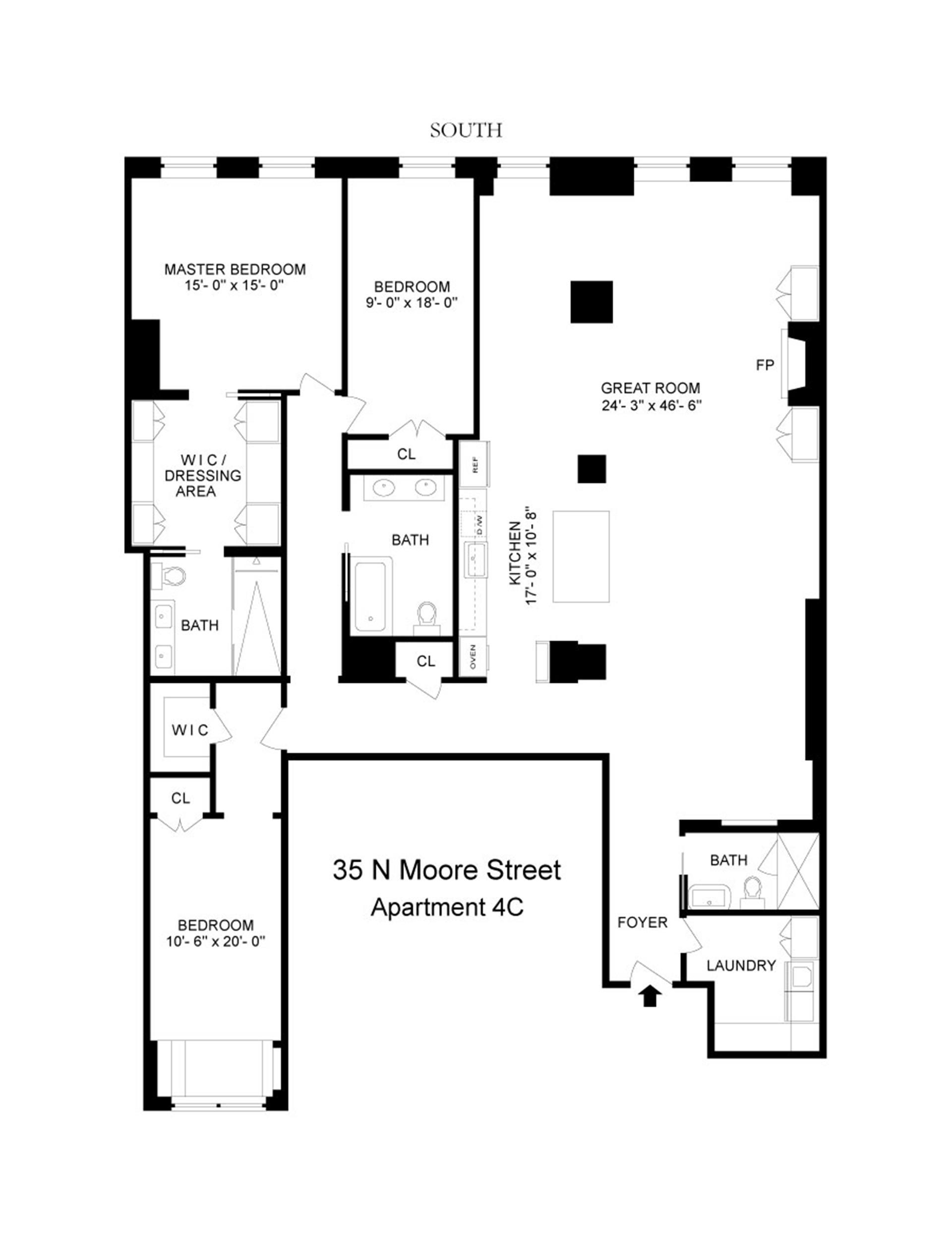 Floor plan of Merchant House, 35 North Moore St, 4C - TriBeCa, New York