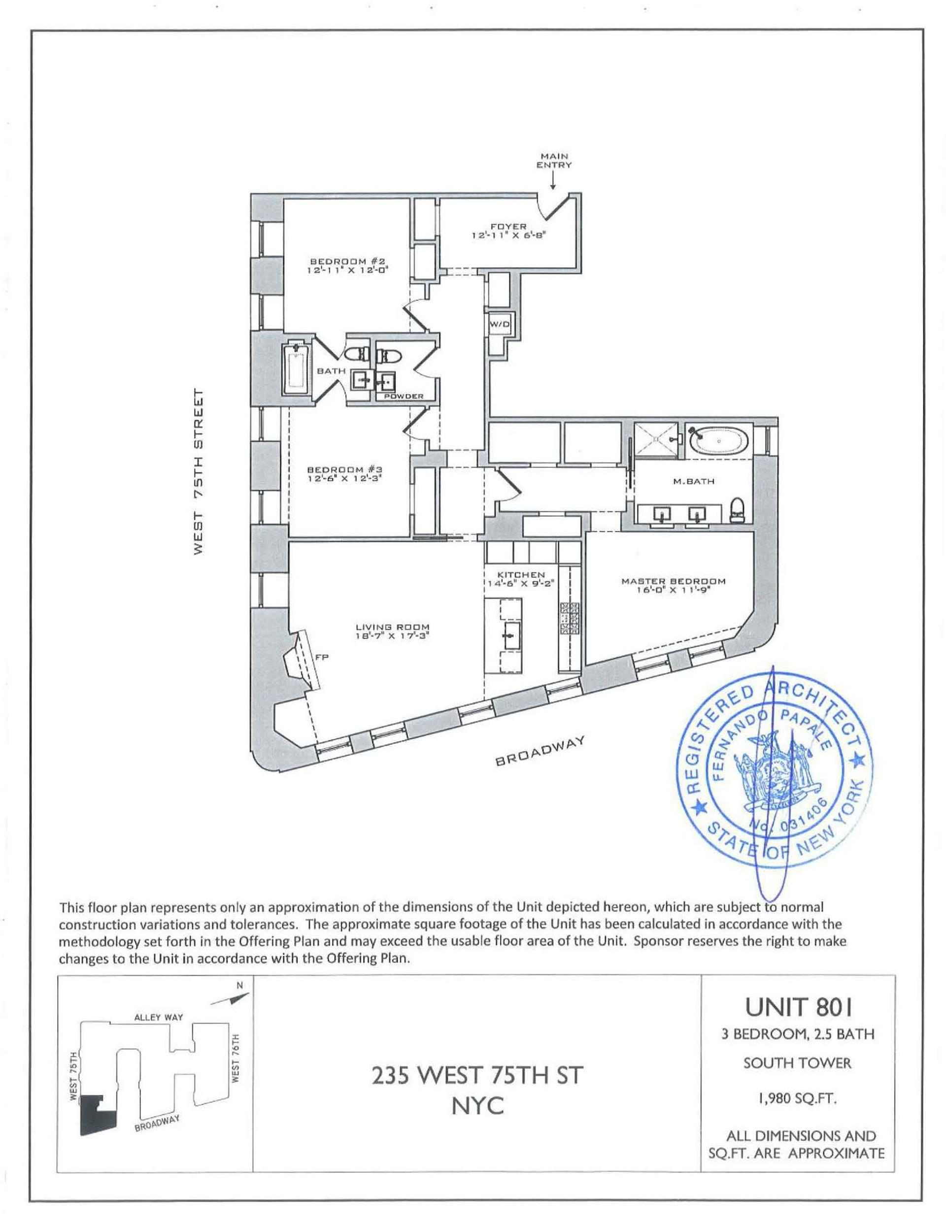 Floor plan of the astor 235 west 75th st 801 upper for The astor upper west side