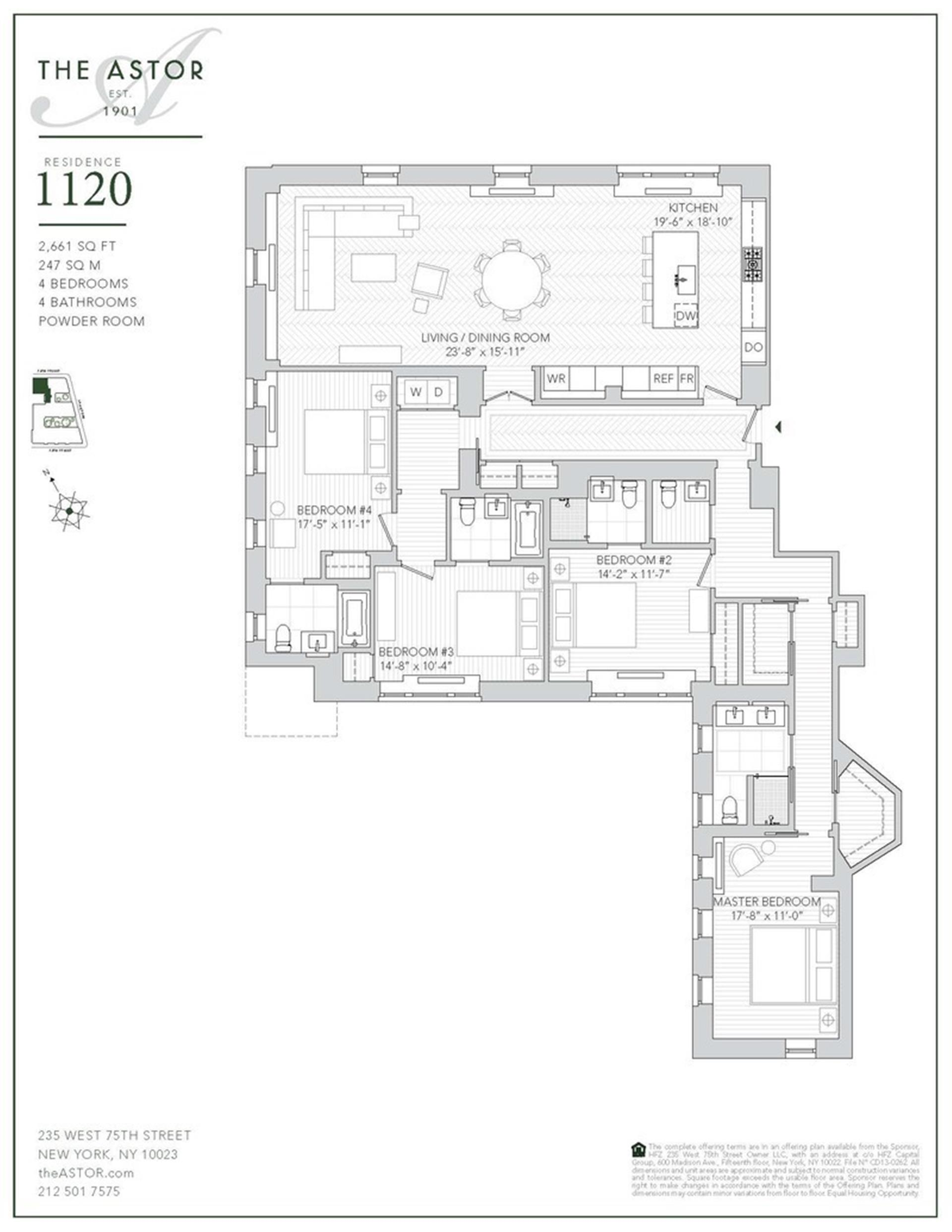 Floor plan of The Astor, 235 West 75th St, 1120 - Upper West Side, New York