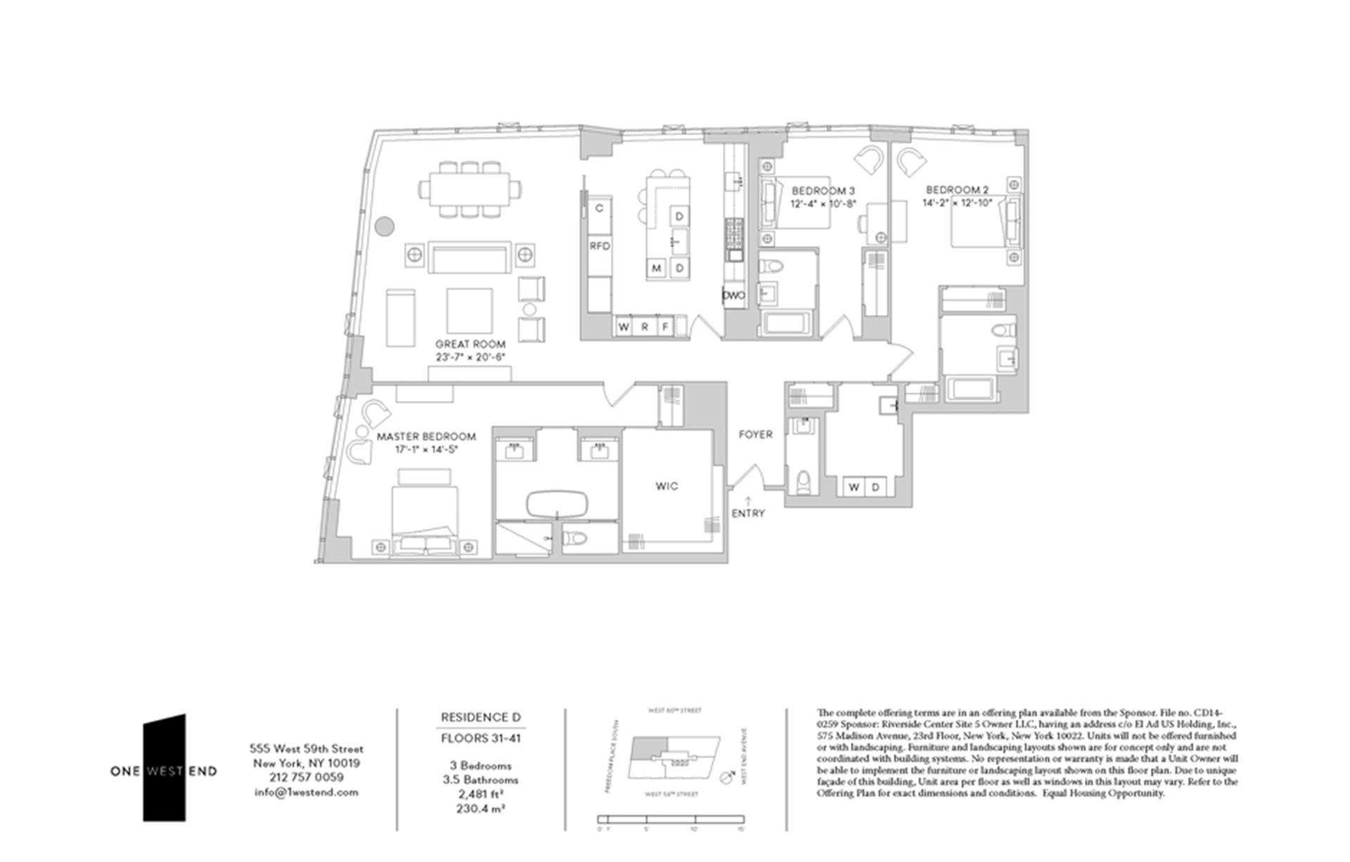 Floor plan of One West End, 1 West End Avenue, 34D - Upper West Side, New York