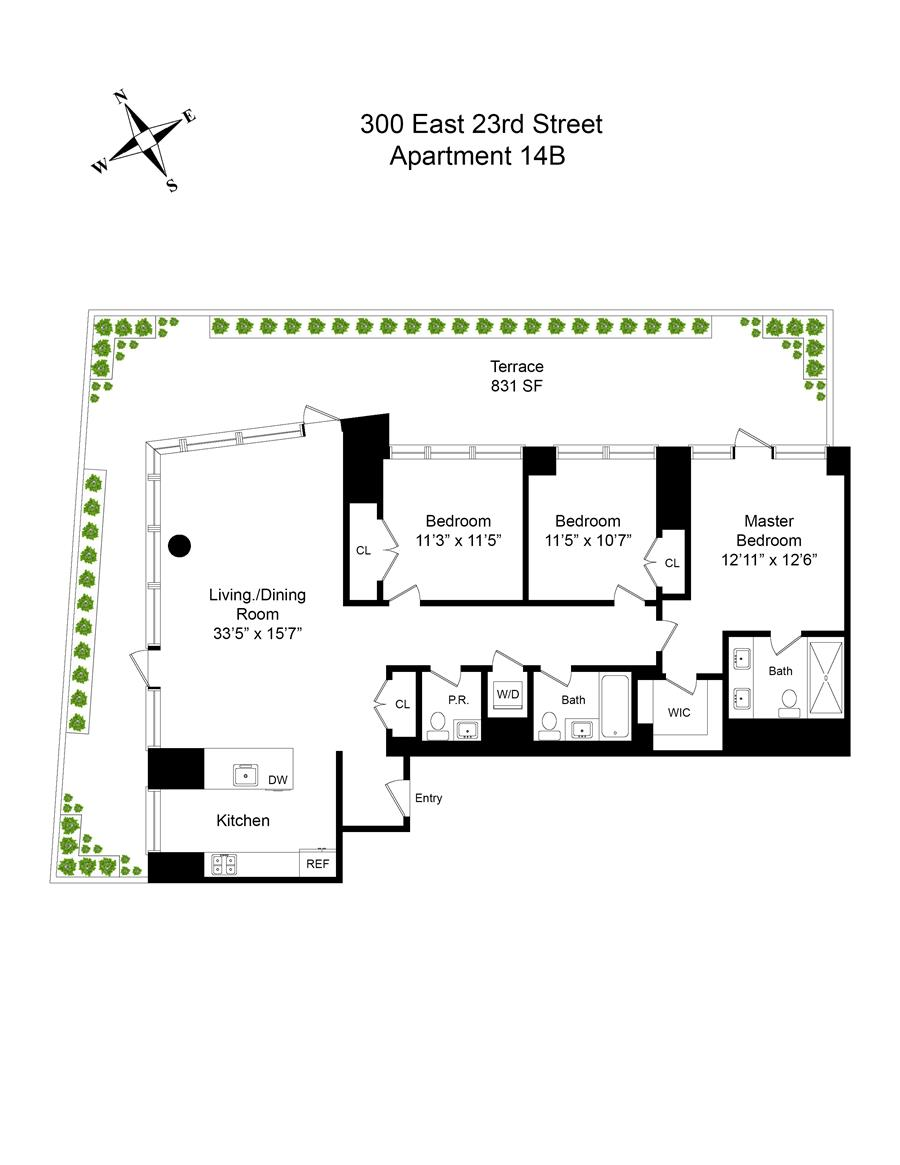 Floor plan of Tempo, 300 East 23rd St, 14B - Gramercy - Union Square, New York