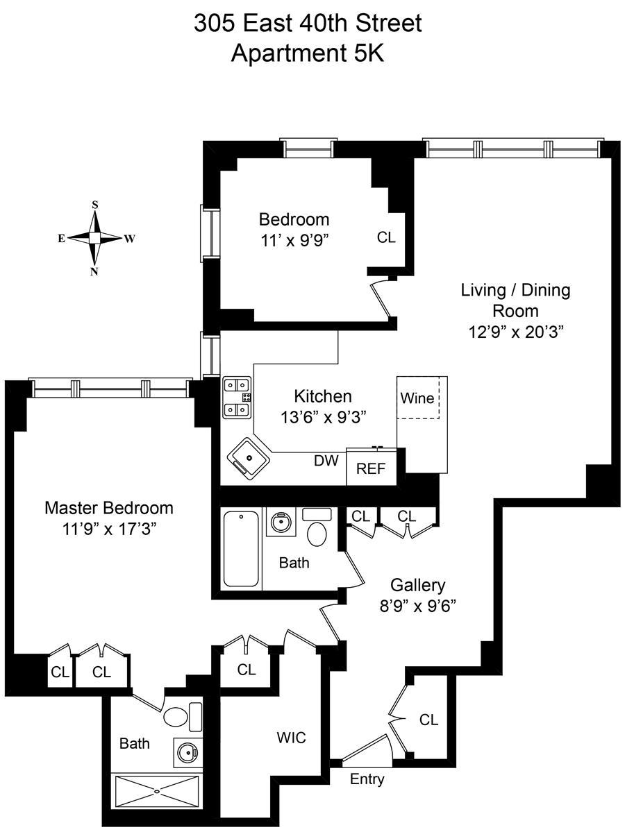 Floor plan of THE HAMILTON, 305 East 40th St, 5K - Murray Hill, New York
