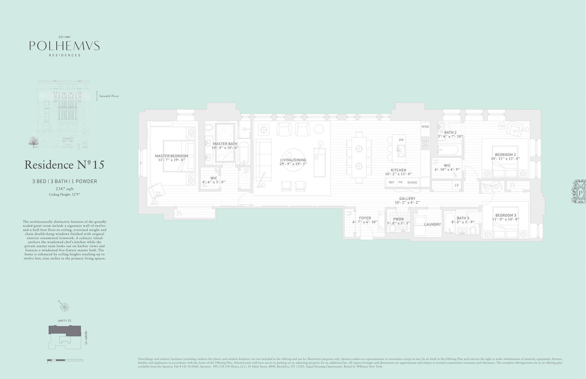 Floor plan of Polhemus, 100 Amity St, RES15 - Cobble Hill, New York