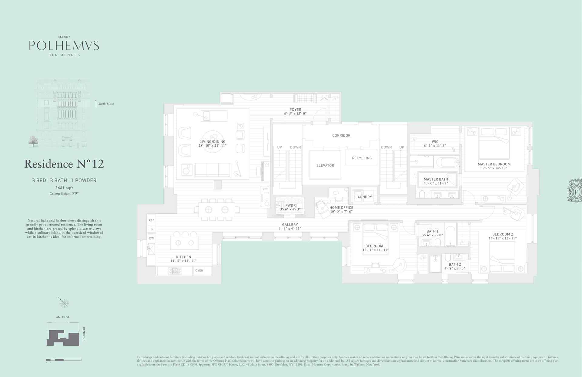 Floor plan of Polhemus, 100 Amity St, RES12 - Cobble Hill, New York