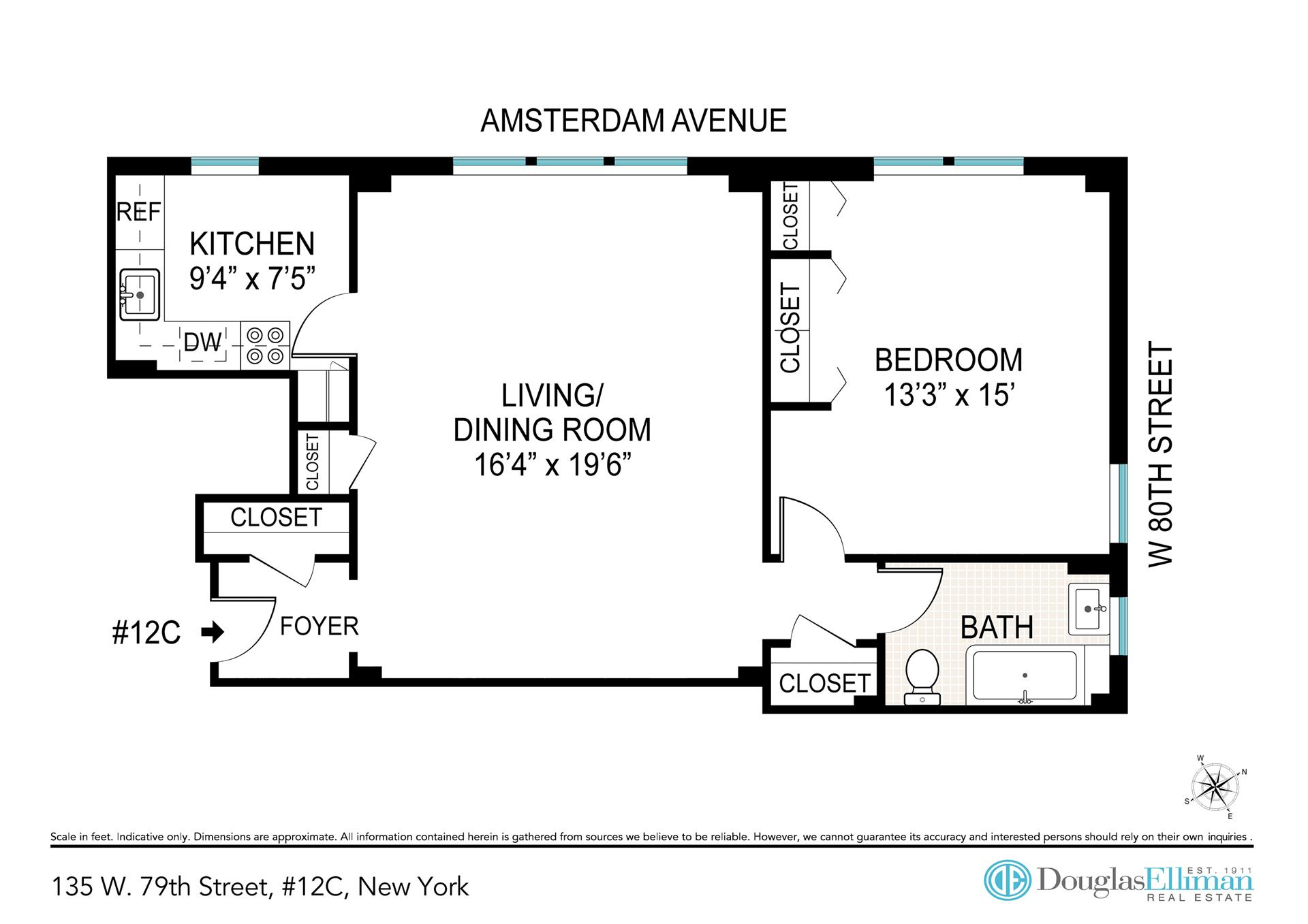 Floor plan of 135 West 79th St, 12C - Upper West Side, New York