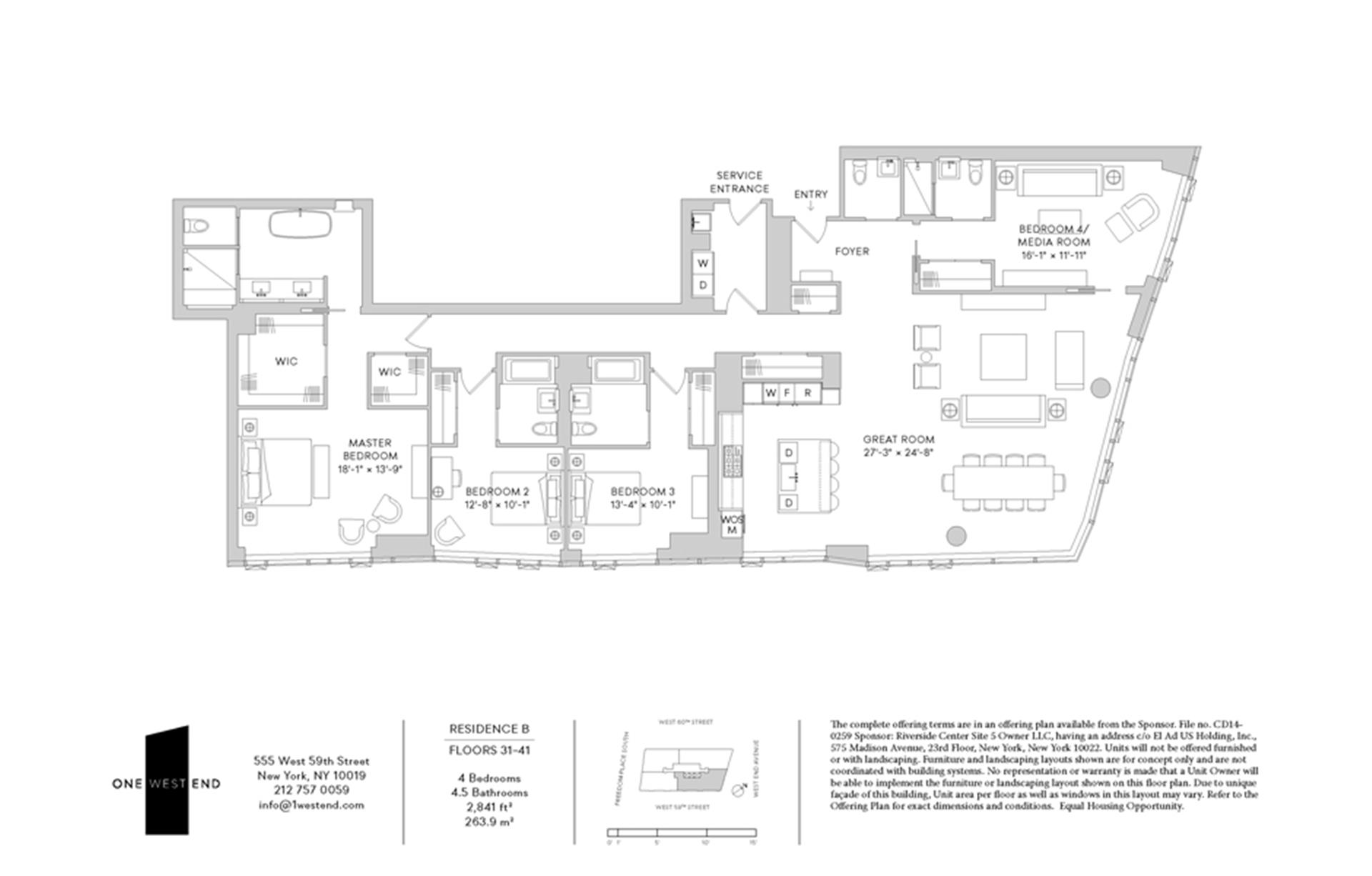 Floor plan of One West End, 1 West End Avenue, 31B - Upper West Side, New York
