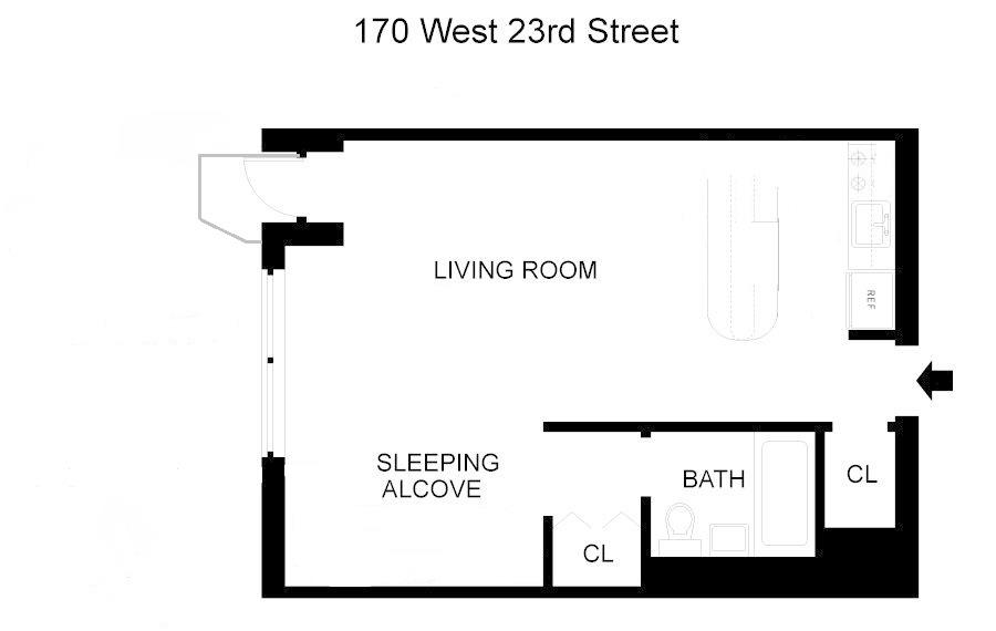Floor plan of 170 West 23rd St, 5W - Chelsea, New York