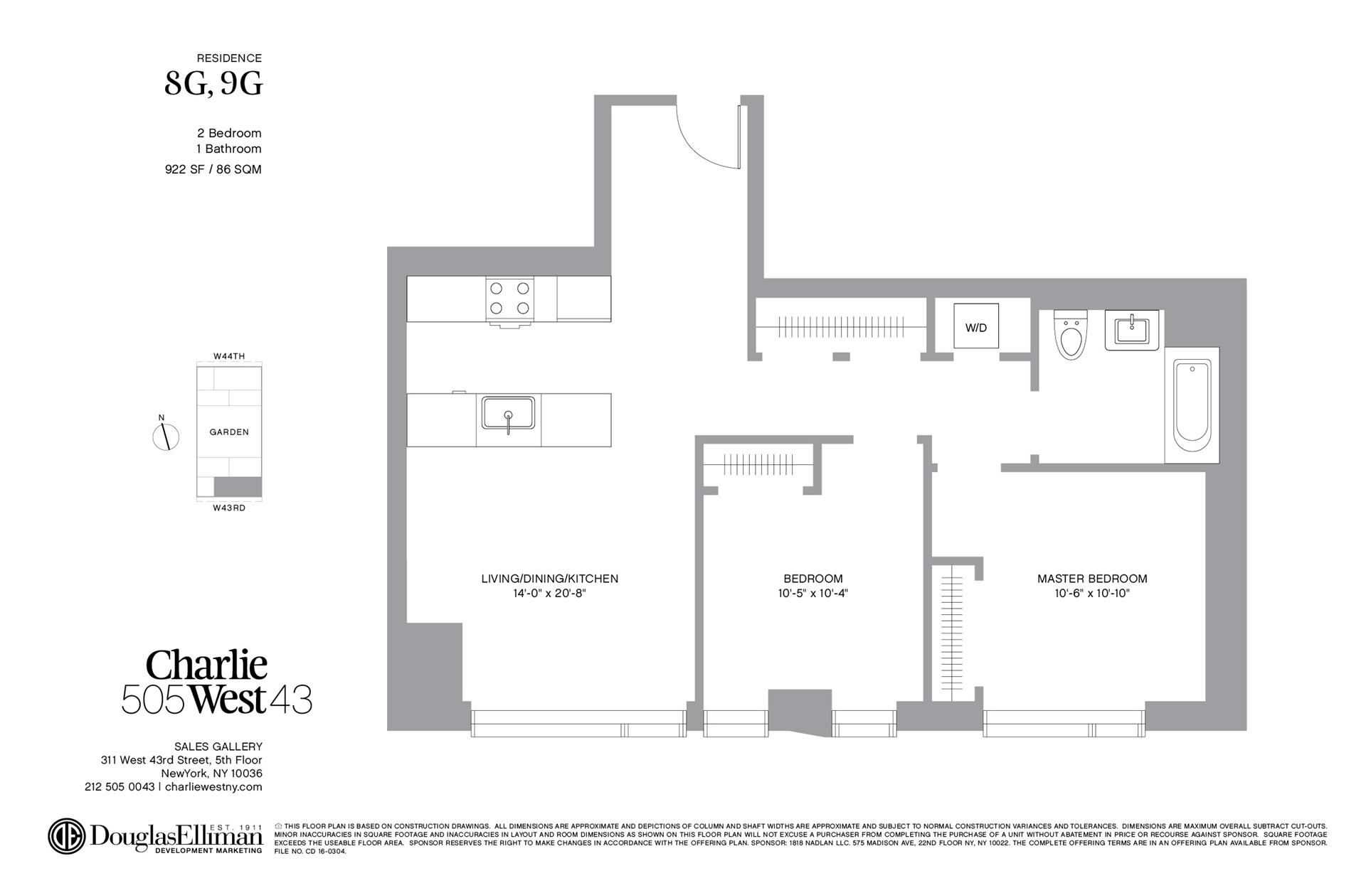 Floor plan of 505 West 43rd St, 9G - Clinton, New York