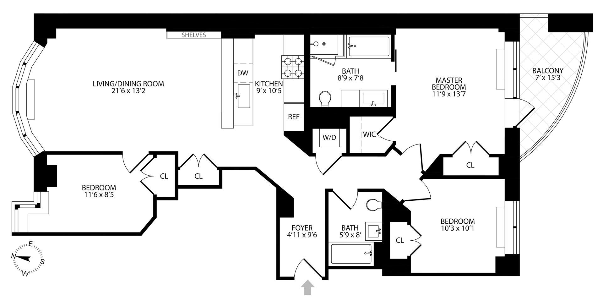 Floor plan of 20 Bayard St, 9D - Williamsburg, New York