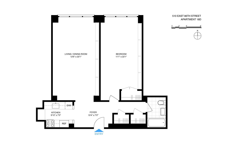 Living Room 86 St 510 east 86 st owners, inc., 510 east 86th st, 18d - upper east