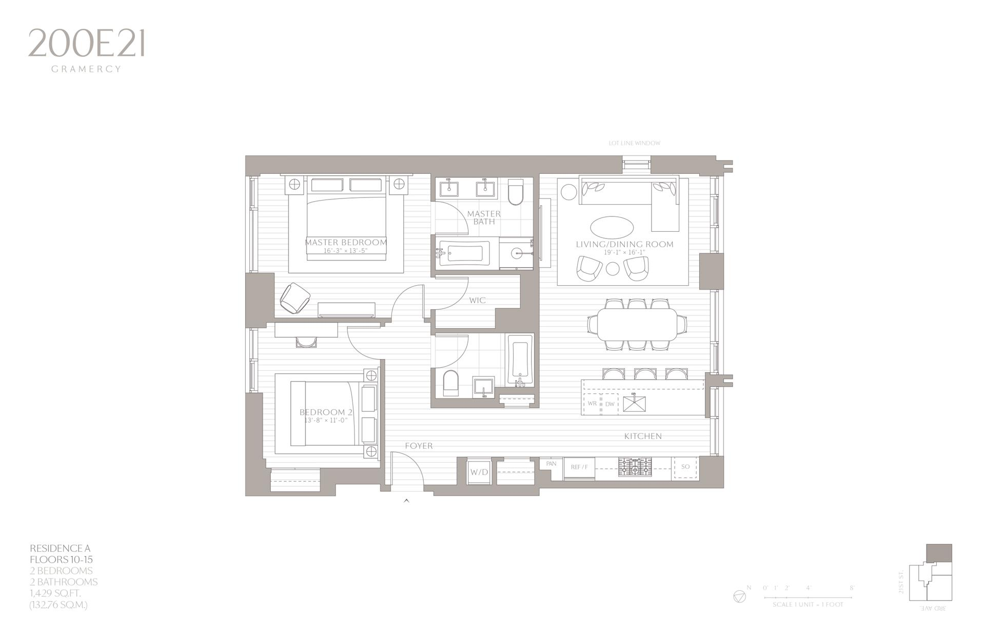 Floor plan of 200 East 21st Street, 10A - Gramercy - Union Square, New York