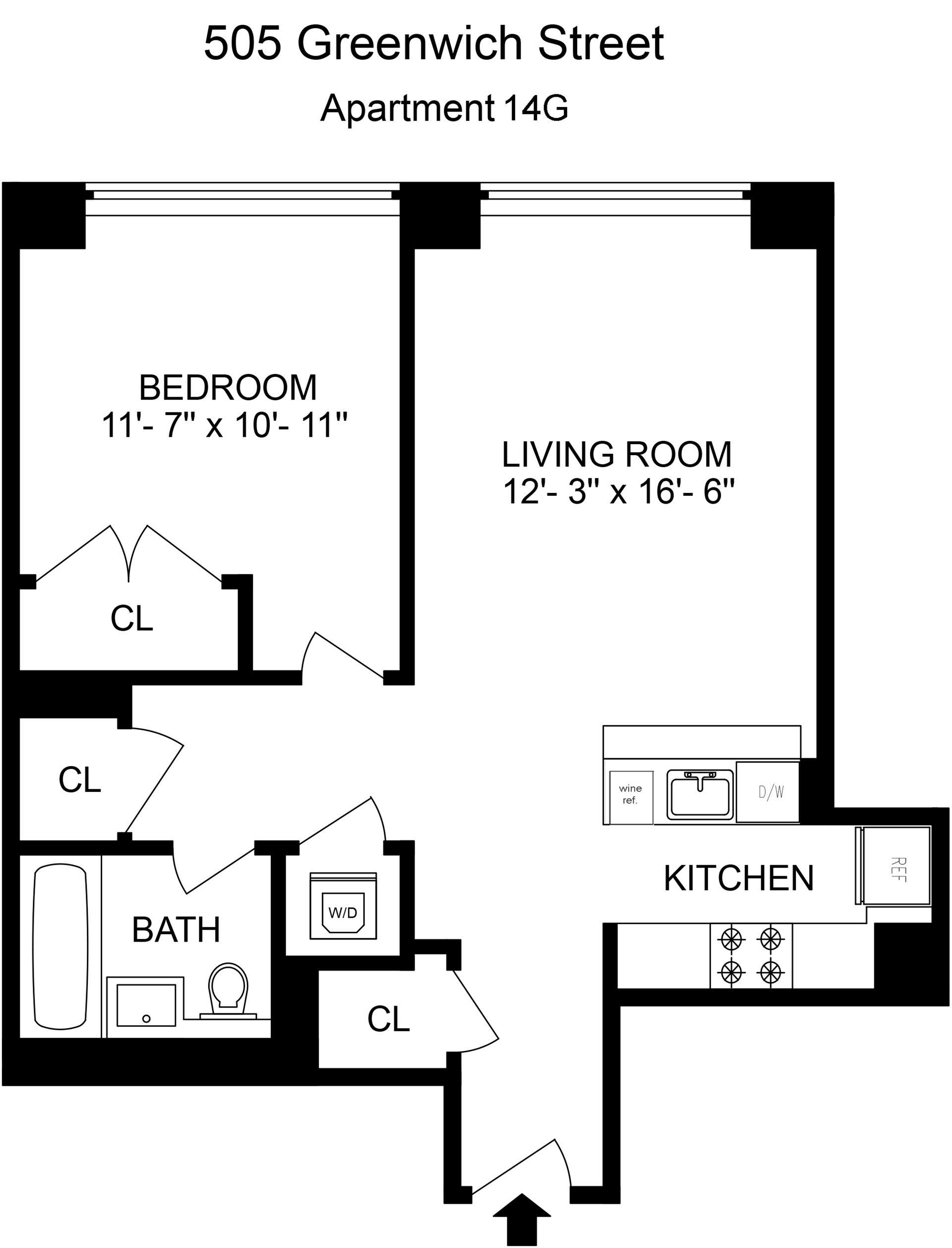 Floor plan of 505 GREENWICH, 505 Greenwich St, 14G - SoHo - Nolita, New York
