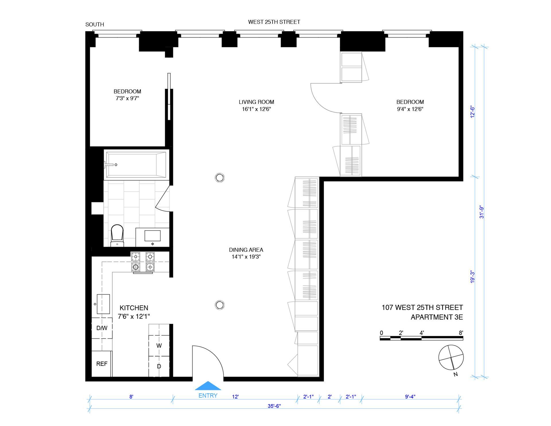 Floor plan of 107 West 25th St, 3E - Flatiron District, New York
