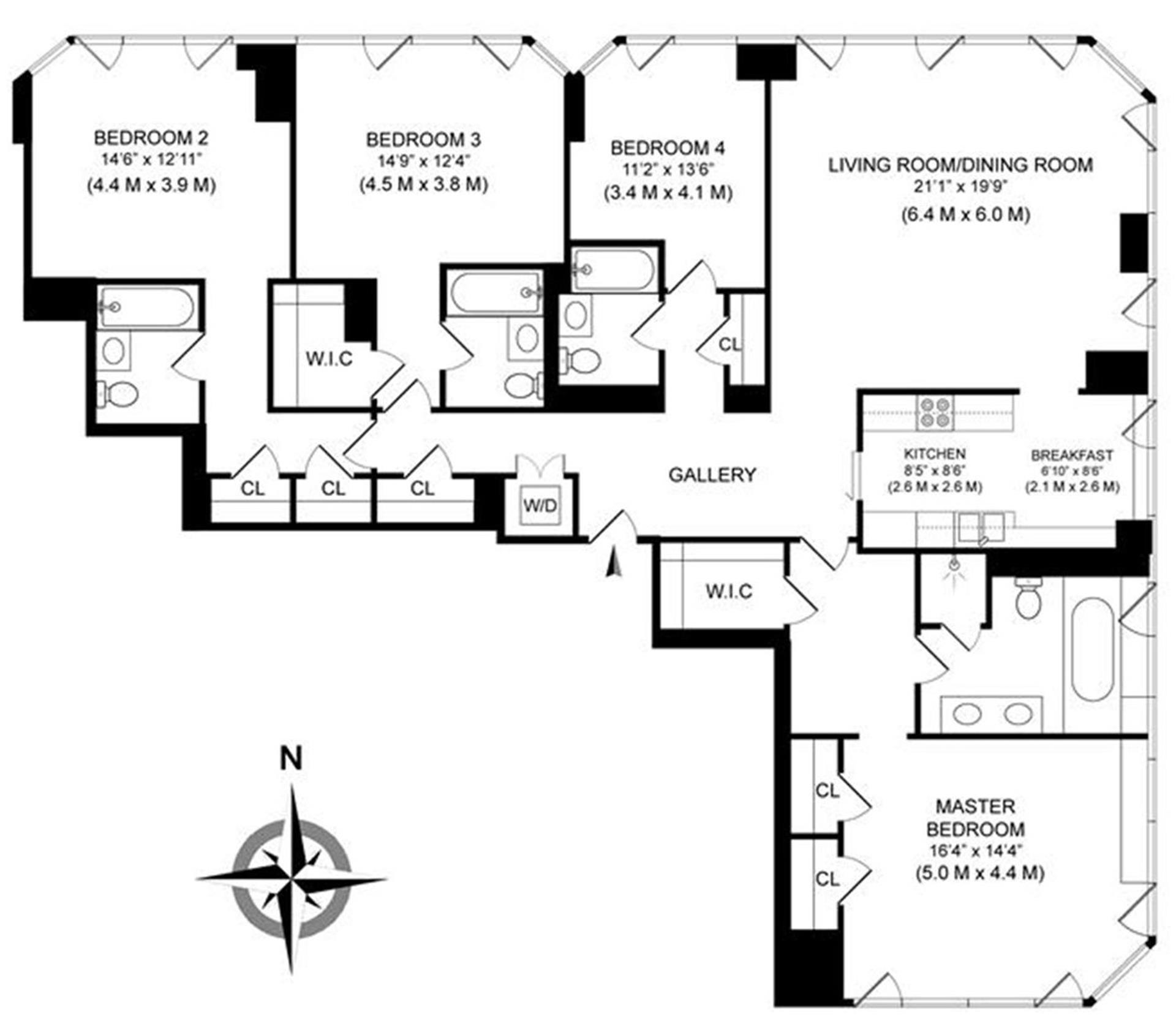 Floor plan of 300 East 55th St, 23A - Midtown, New York