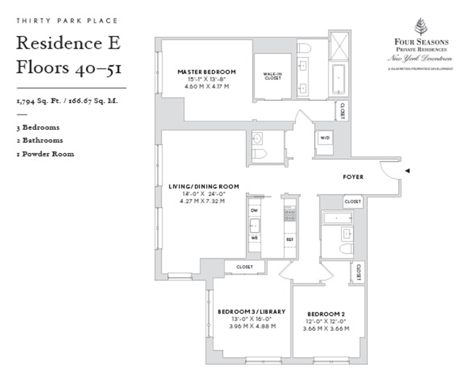 Floor plan of Four Seasons, 30 Park Pl, 40E - TriBeCa, New York