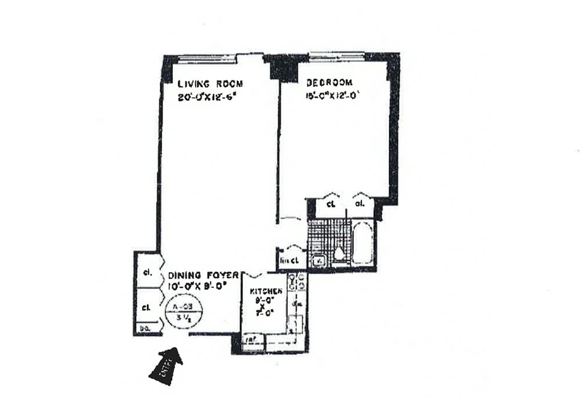 Floor plan of Newport East Inc., 370 East 76th St, A1503 - Upper East Side, New York