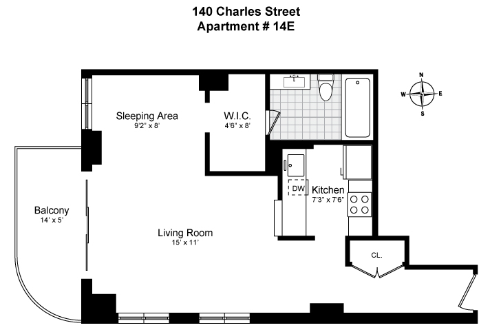 Floor plan of Memphis Downtown, 140 Charles St, 14E - West Village - Meatpacking District, New York