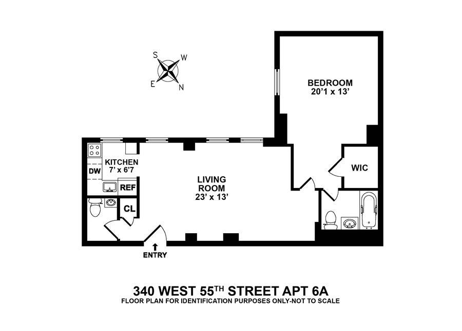 Floor plan of 340 West 55th Street, 6A