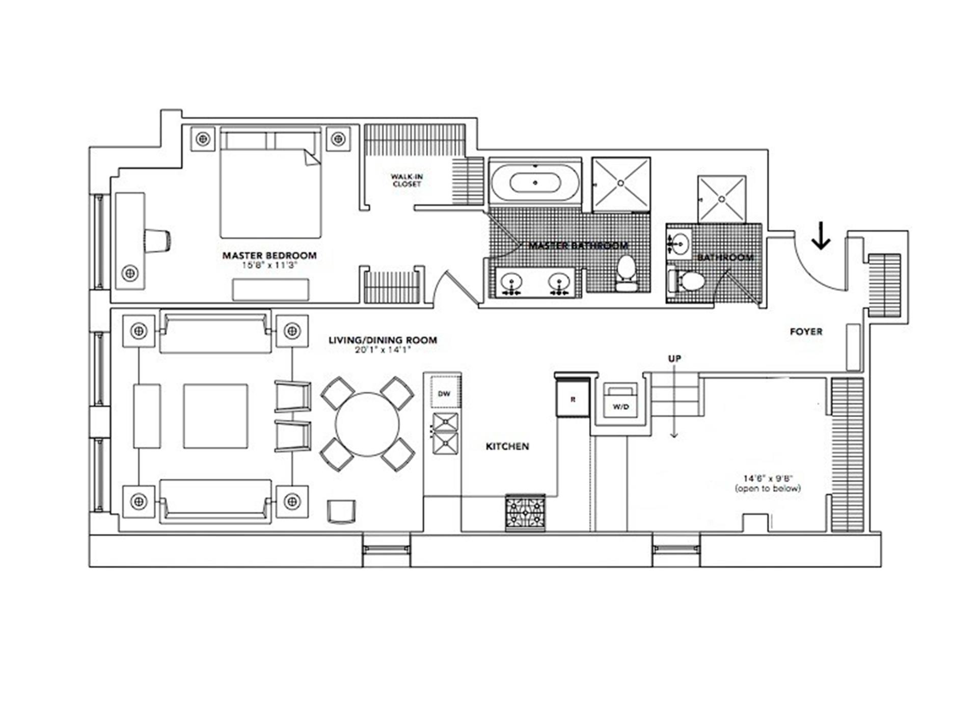 Floor plan of 416 Washington St, 3J - TriBeCa, New York