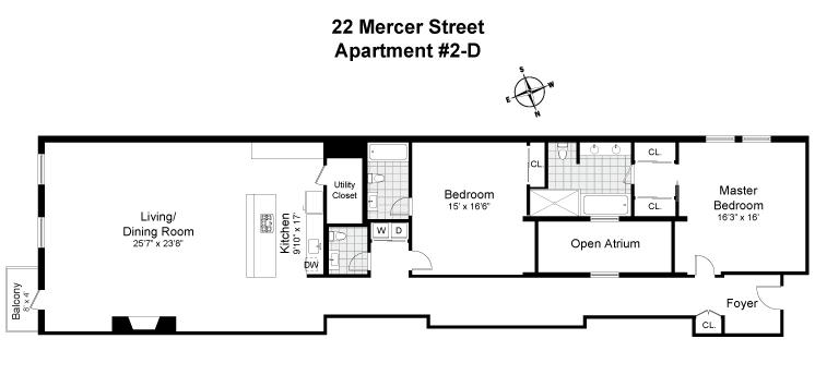 Floor plan of 22 Mercer St, 2D - SoHo - Nolita, New York
