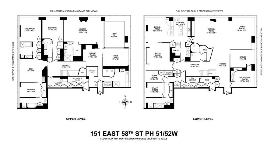 Floor plan of One Beacon Court, 151 East 58th St, PH51/52W - Upper East Side, New York