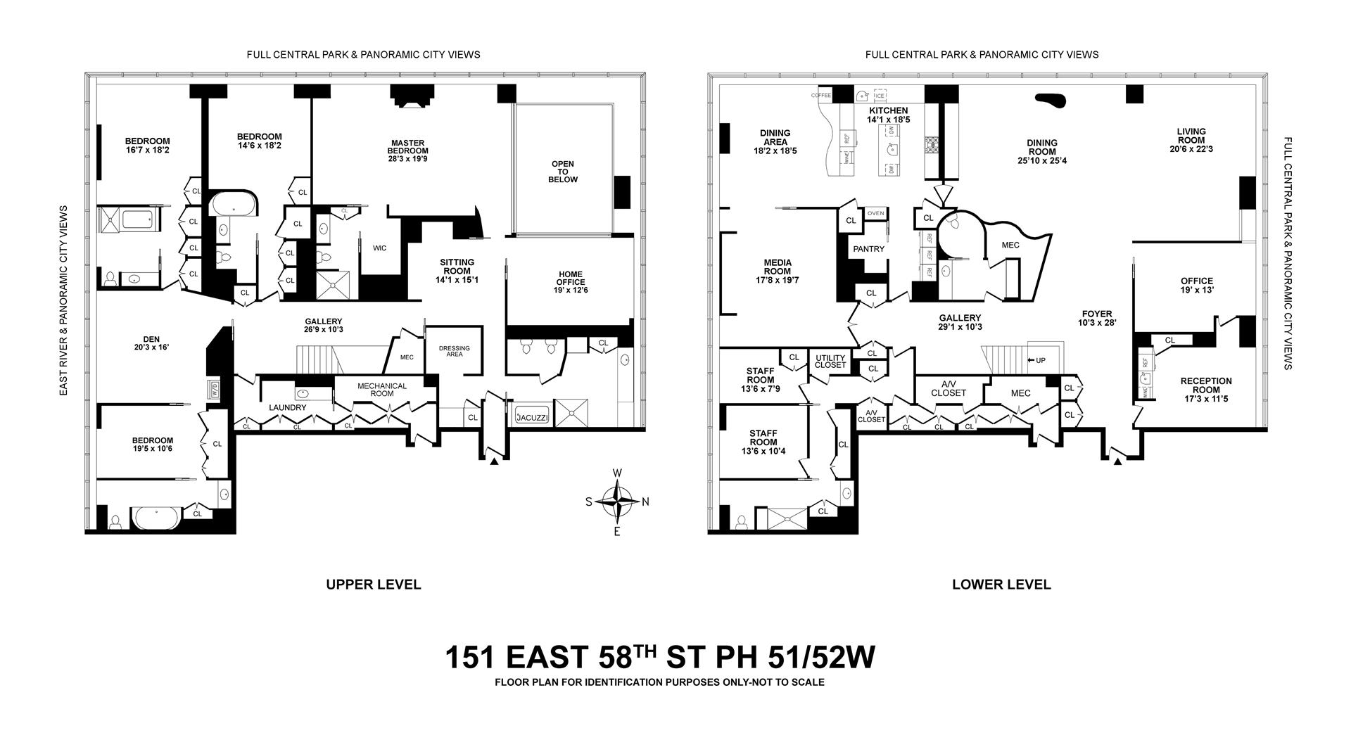 Floor plan of One Beacon Court, 151 East 58th St, PH51/52W - Upper East Side, New York