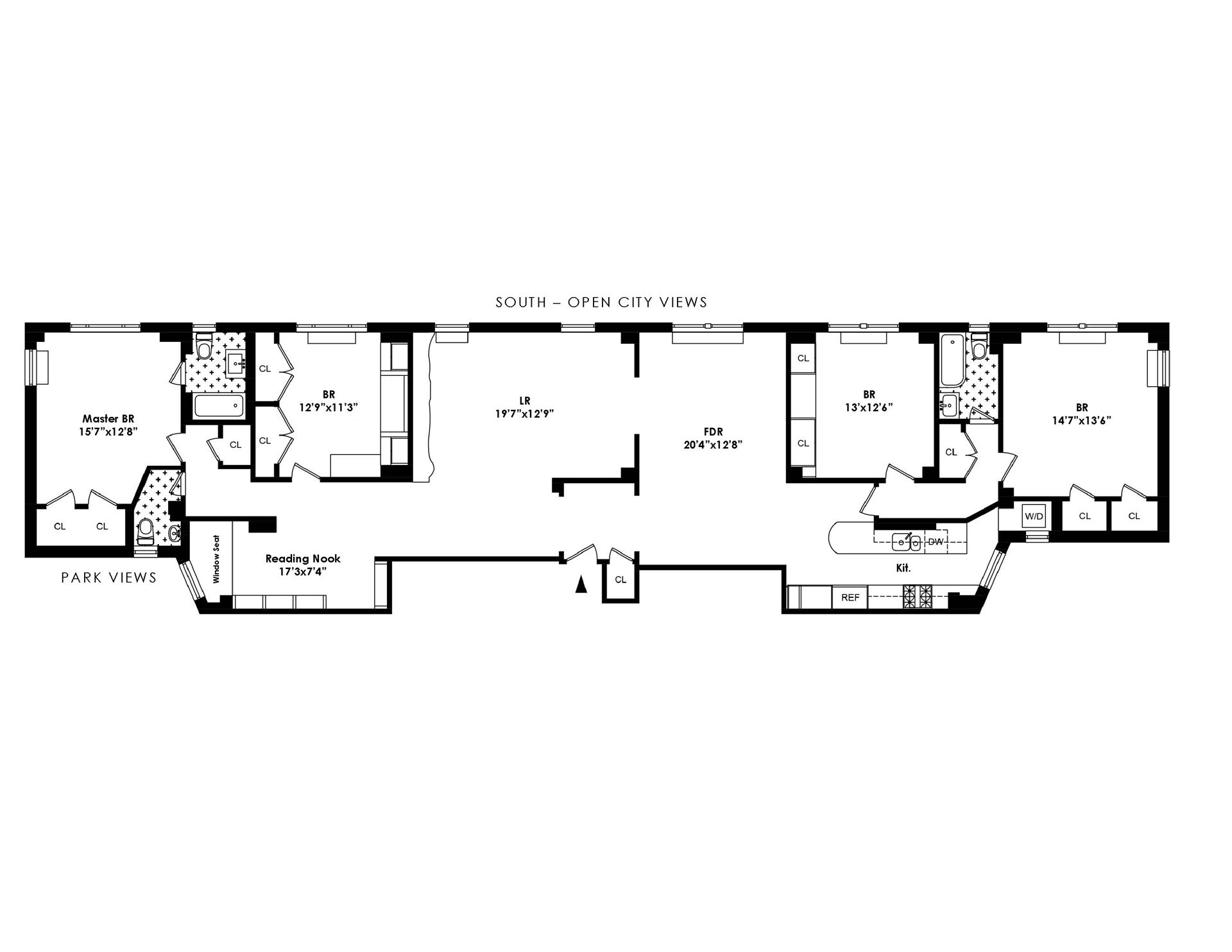 Floor plan of 50 West Owners Corporation, 50 West 96th St, 12DD - Upper West Side, New York