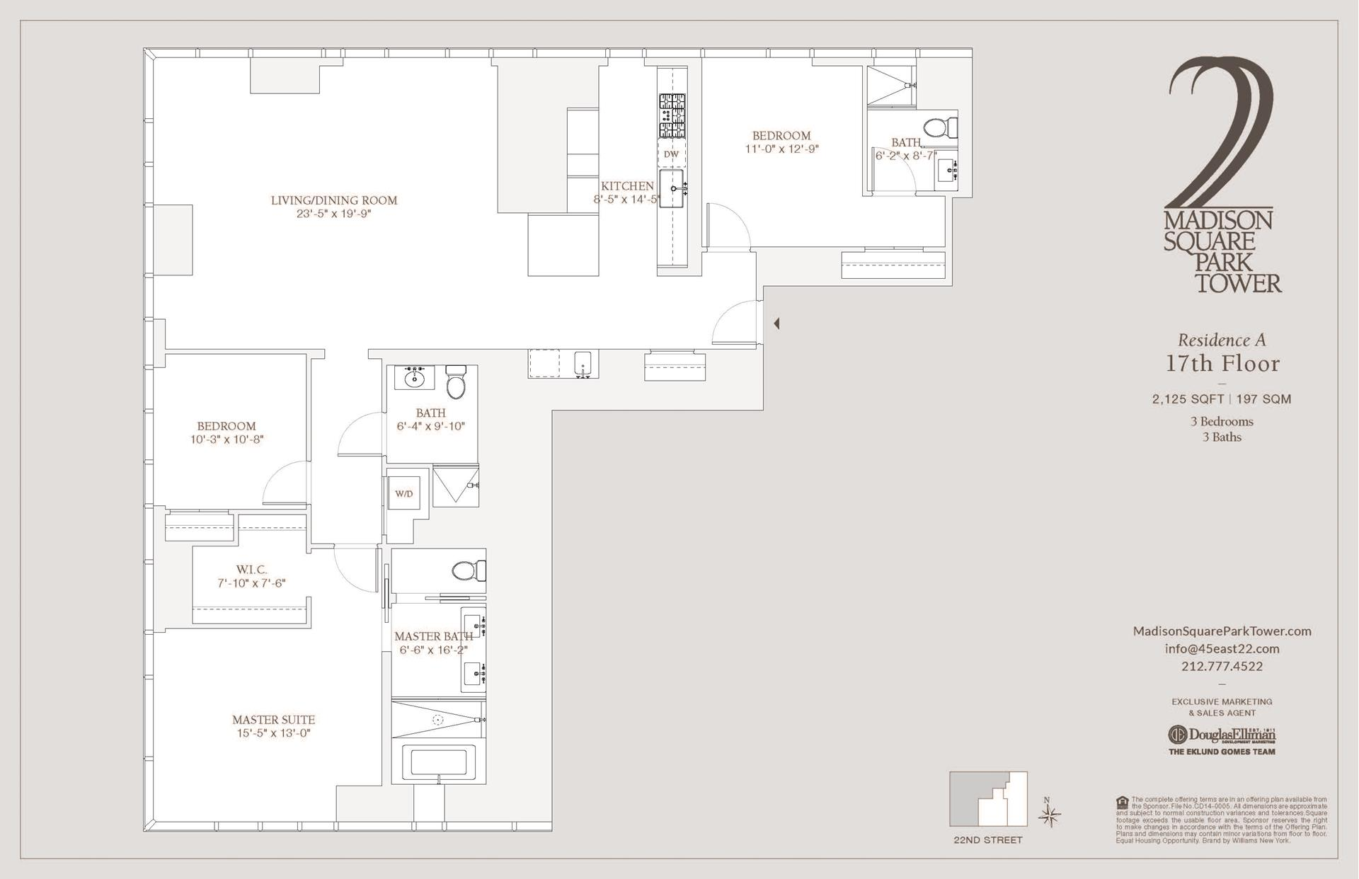 Floor plan of Madison Square Park Tower, 45 East 22nd Street, 17A - Flatiron District, New York
