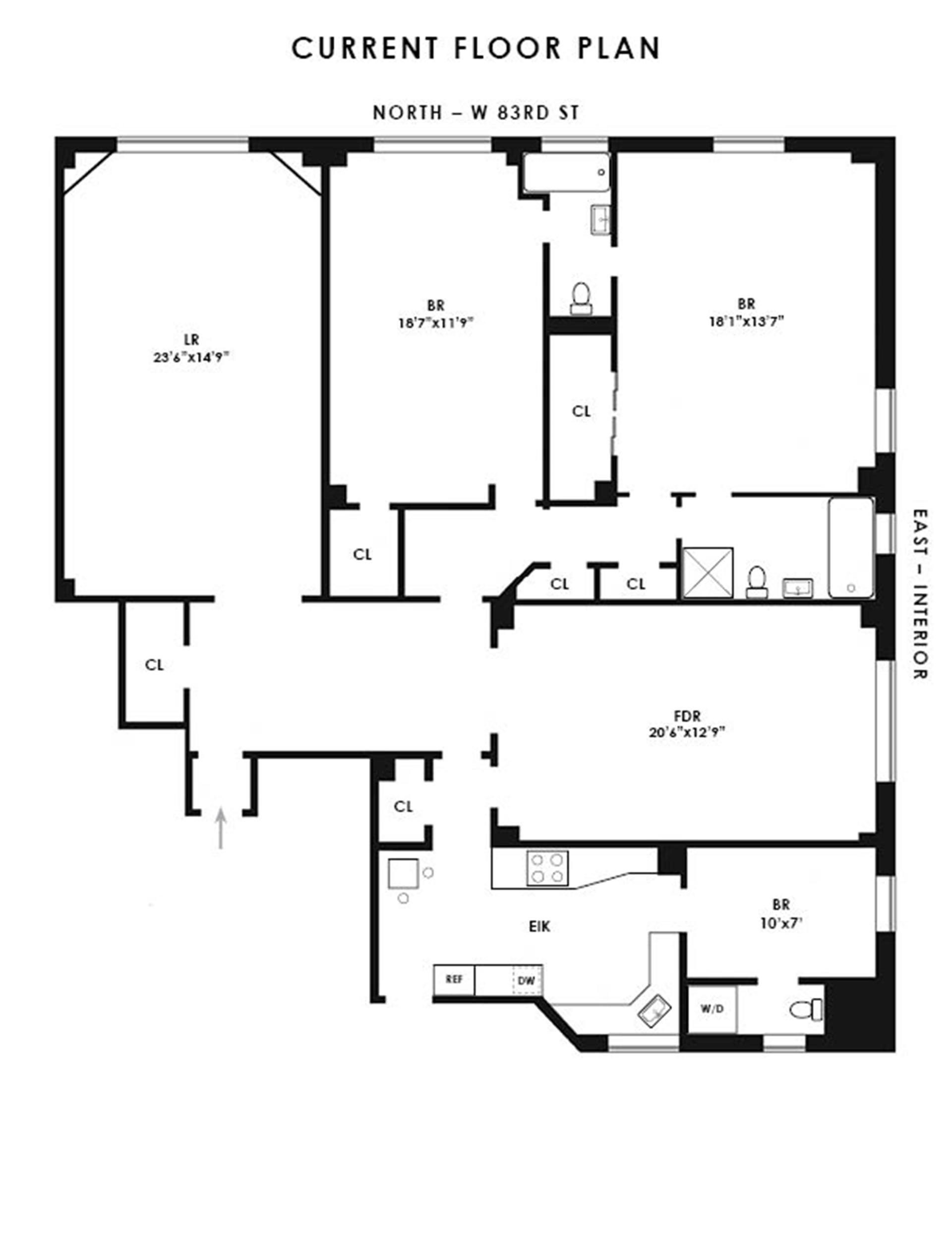 Floor plan of 470 West End Avenue, 4E - Upper West Side, New York