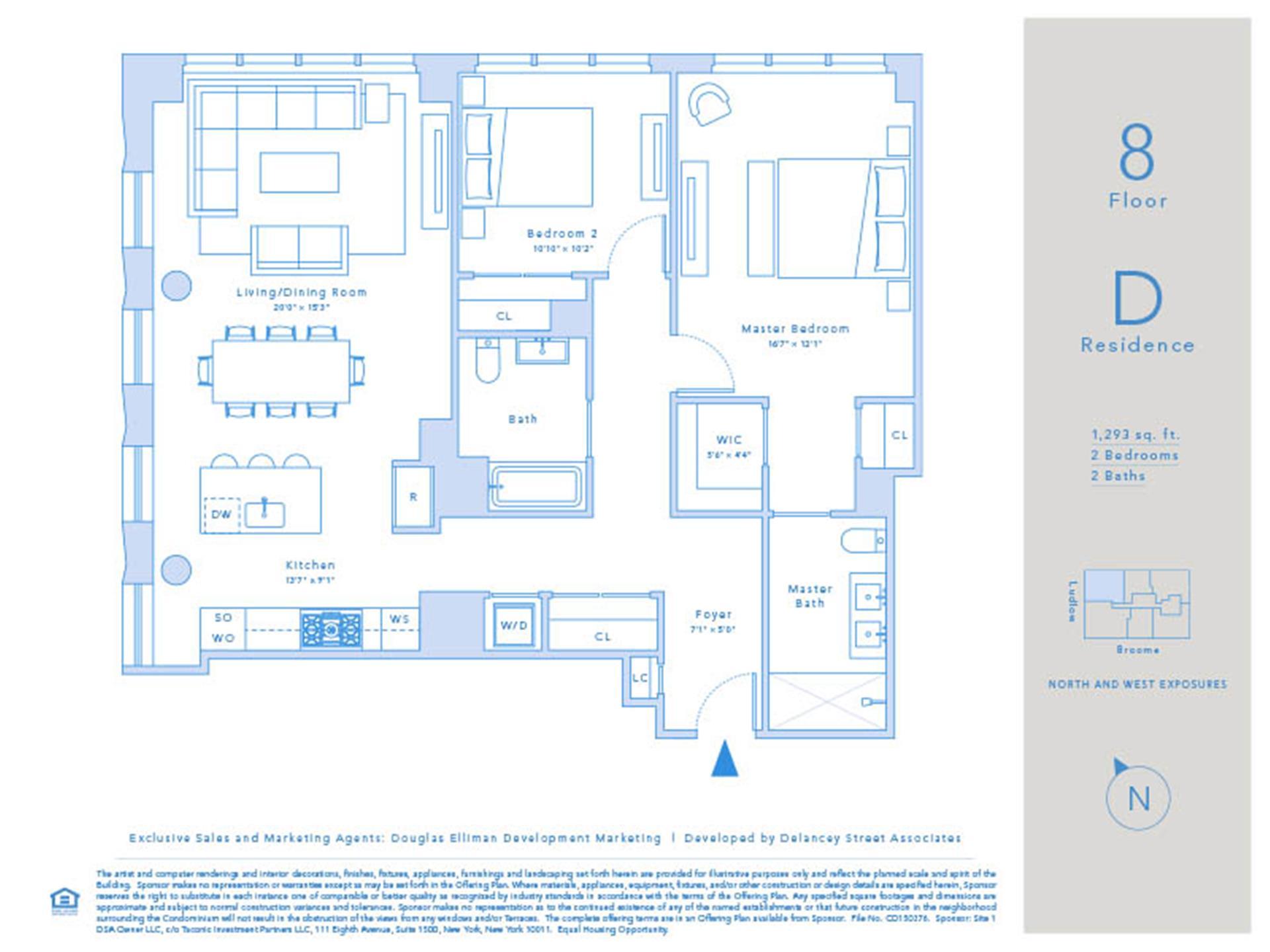 Floor plan of Essex Crossing, 242 Broome St, 8D - Lower East Side, New York