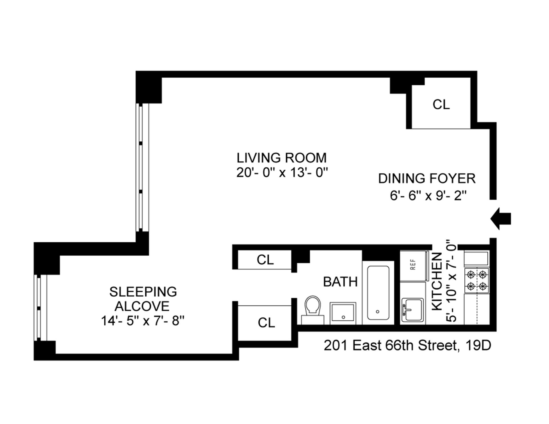 Floor plan of 201 East 66th St, 19D - Upper East Side, New York