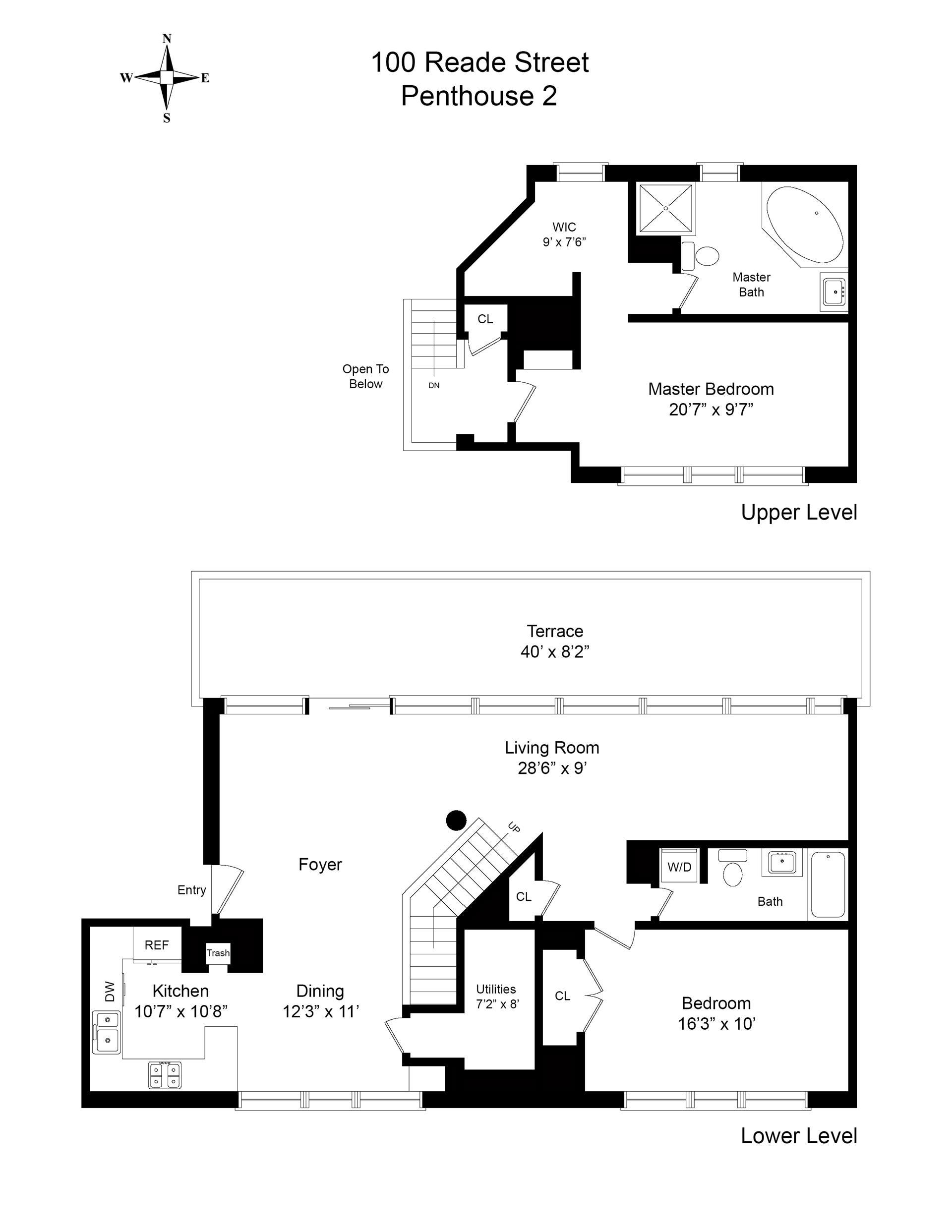 Floor plan of Tribeca Court, 100 Reade St, PH2 - TriBeCa, New York