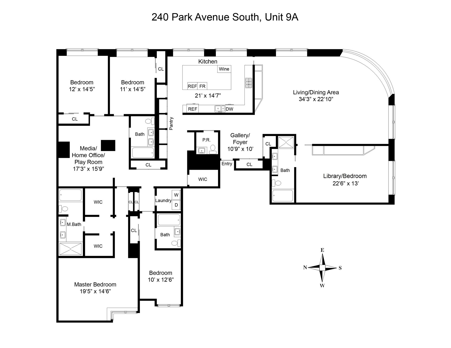 Floor plan of 240 Park Avenue South, 9A - Flatiron District, New York