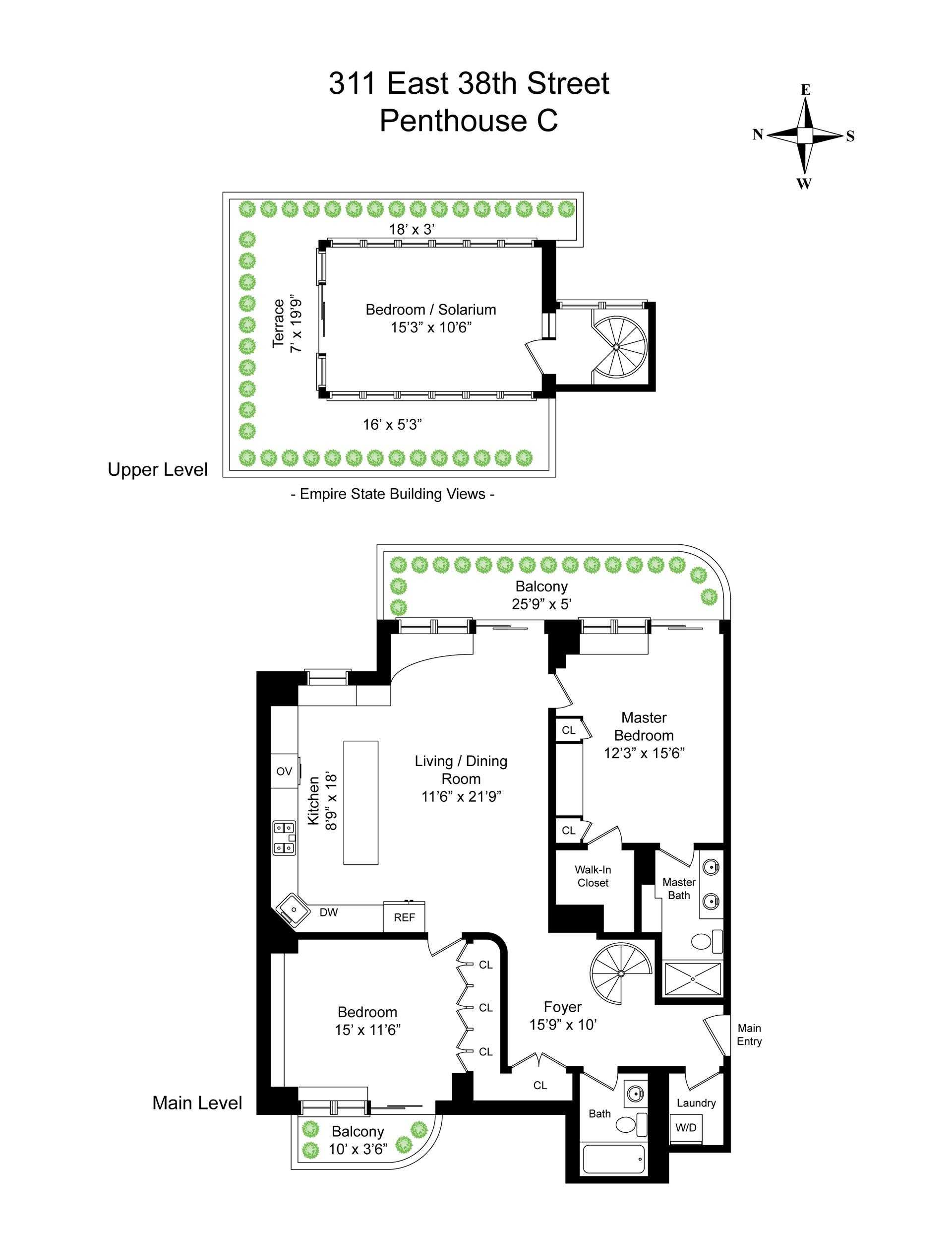 Floor plan of THE WHITNEY, 311 East 38th St, PHC - Murray Hill, New York